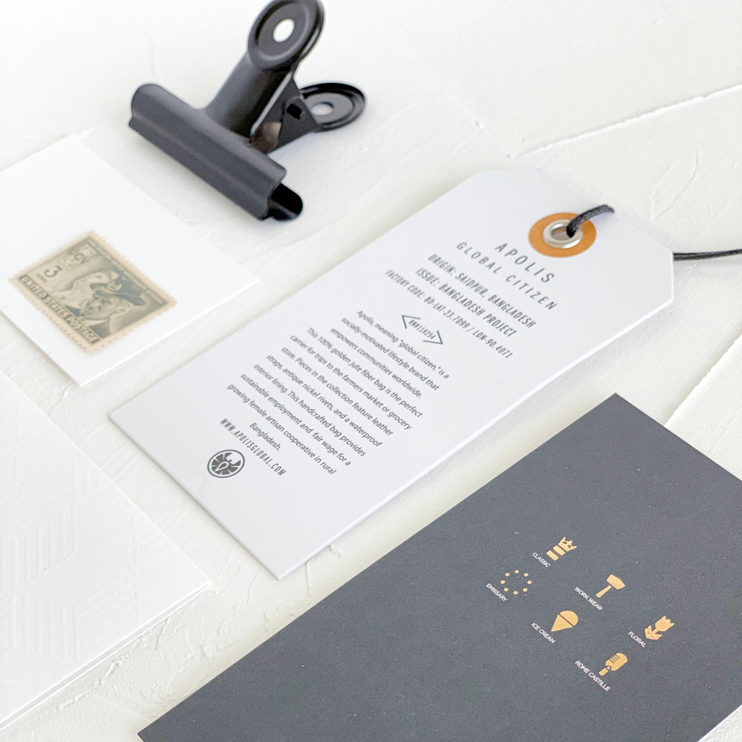 Paper on My Desk, a new mini series by Akula Kreative | White debossed stationery, tag, foil-stamped card in neutral colors