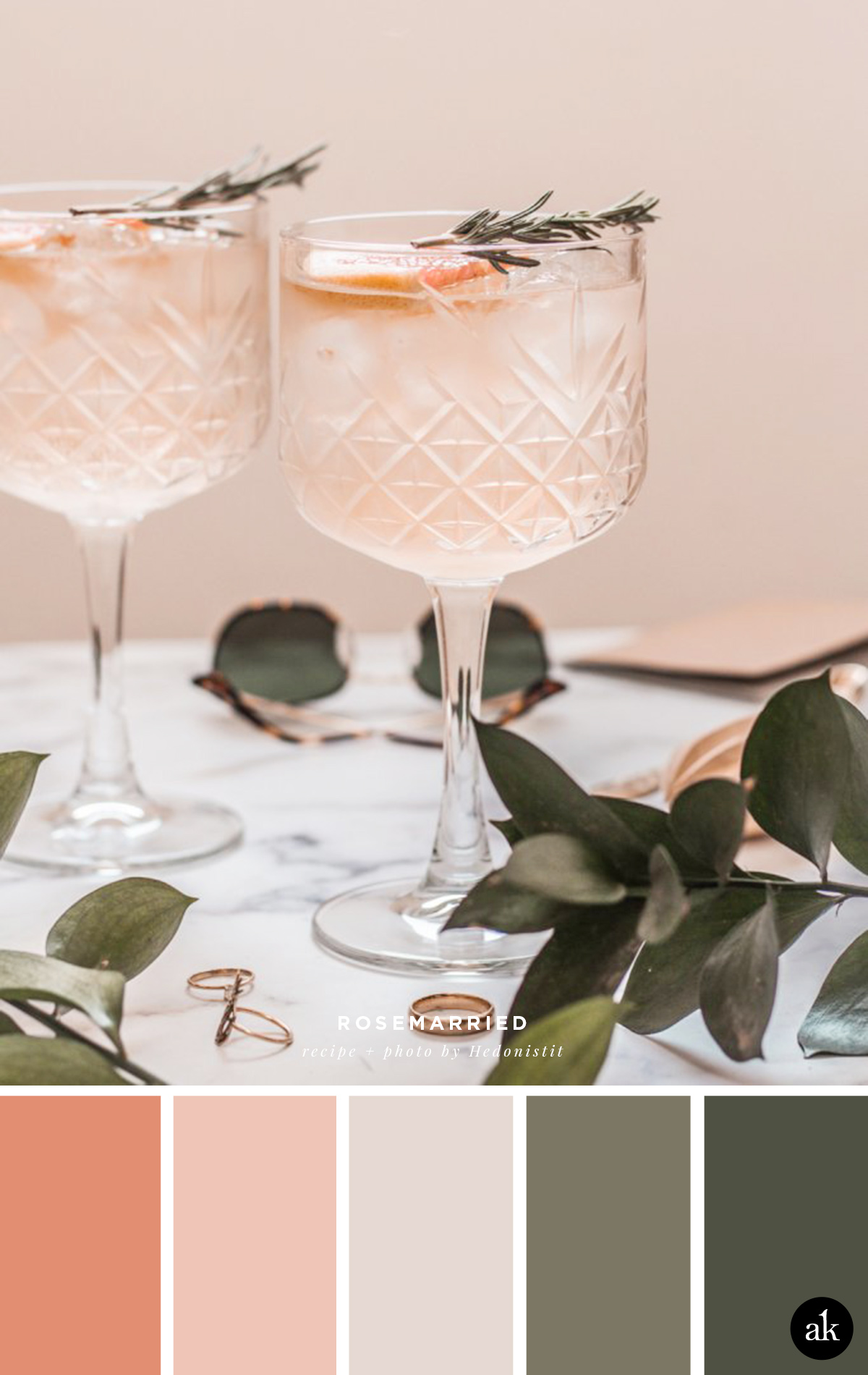 a grapefruit-and-rosemary-cocktail-inspired color palette | grapefruit, light peachy taupe, olive green | photo and recipe by Hedonistit