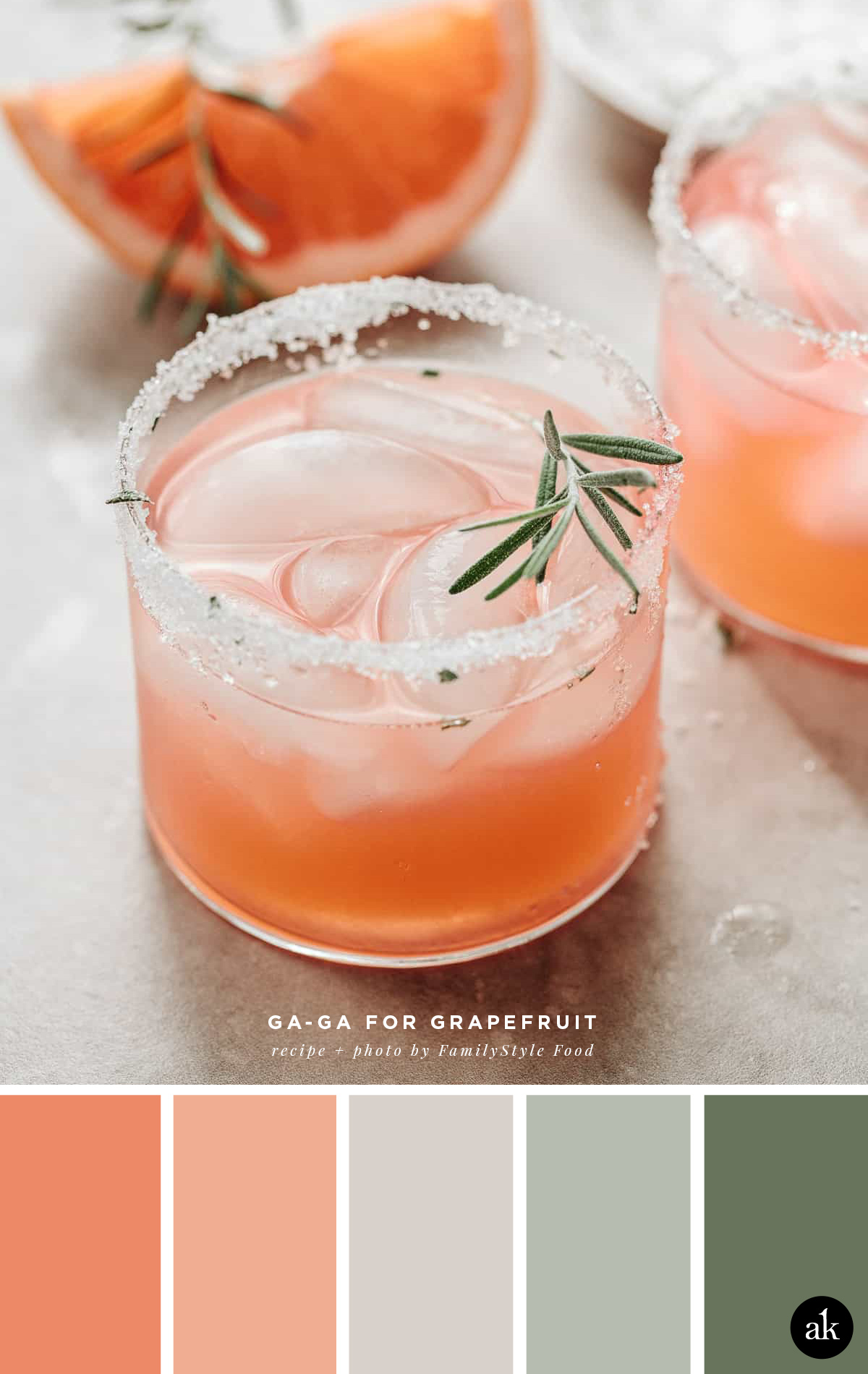 another grapefruit-and-rosemary-cocktail-inspired color palette | grapefruit, peach, gray, sage, green | photo and recipe by FamilyStyle Food