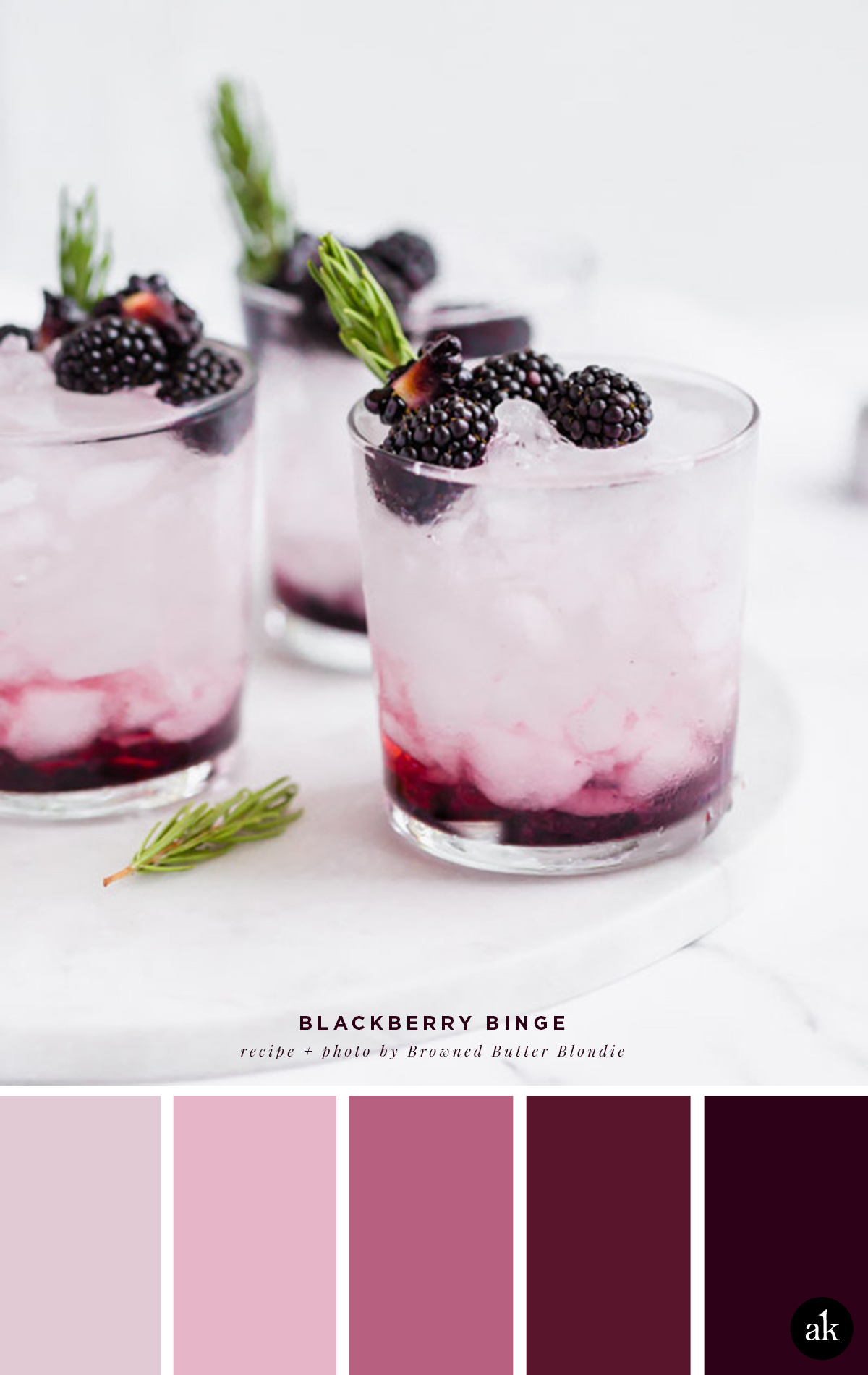 a blackberry-cocktail-inspired color palette // lavender, violet, plum // recipe and photo by Browned Butter Blondie