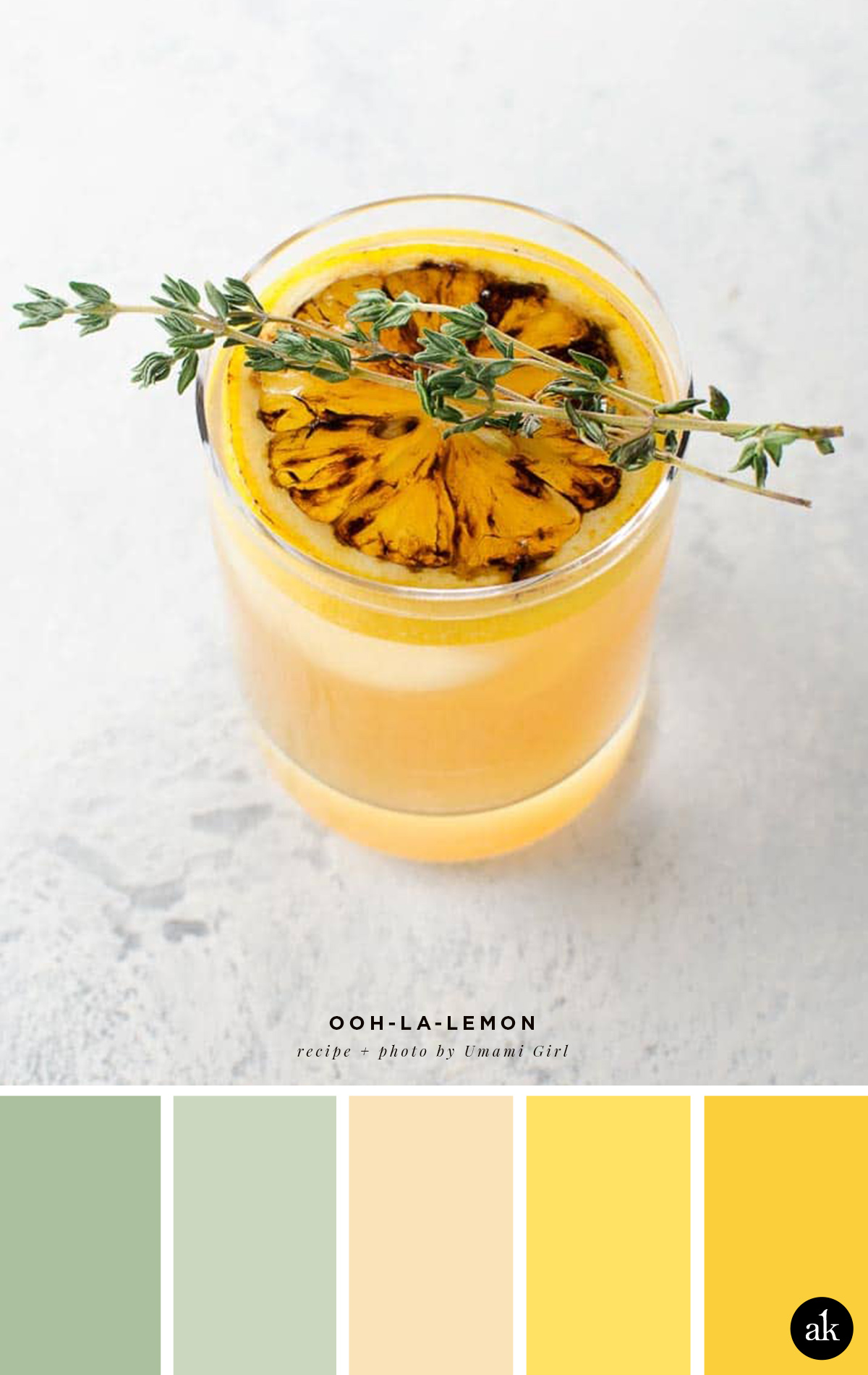 a lemon-cocktail-inspired color palette // soft green, light peach, yellow // recipe and photo by Umami Girl