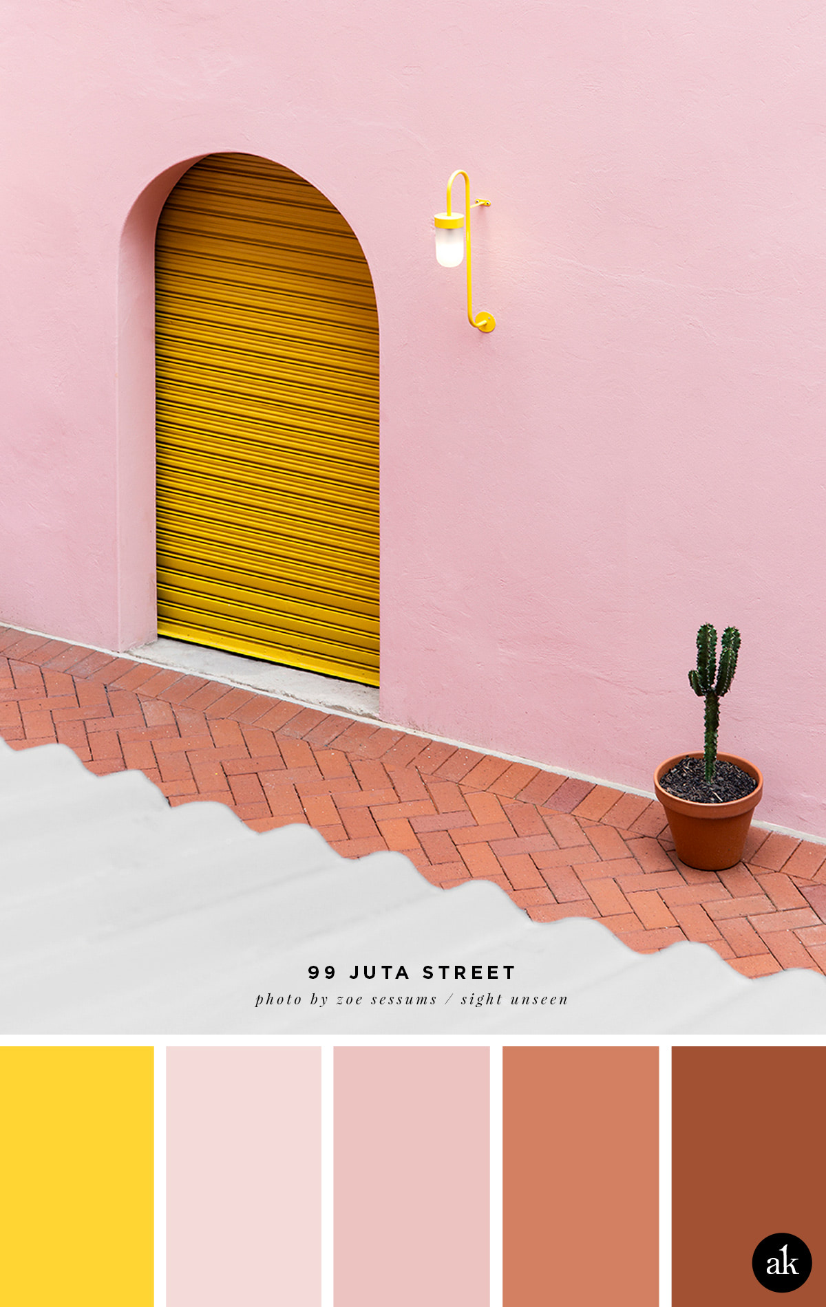 a pink and yellow color palette // yellow, pink, terra cotta // 99 Juta Street photographed by Zoe Sessums