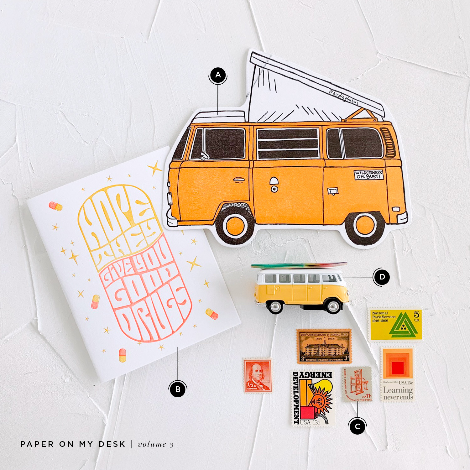 "Paper on My Desk, a new mini series by Akula Kreative | Yellow and Orange ""Get Well"" Letterpress Card, Yellow VW Bus Letterpress Postcard, VW Bus with Surfboard Toy, Yellow Vintage Stamps"