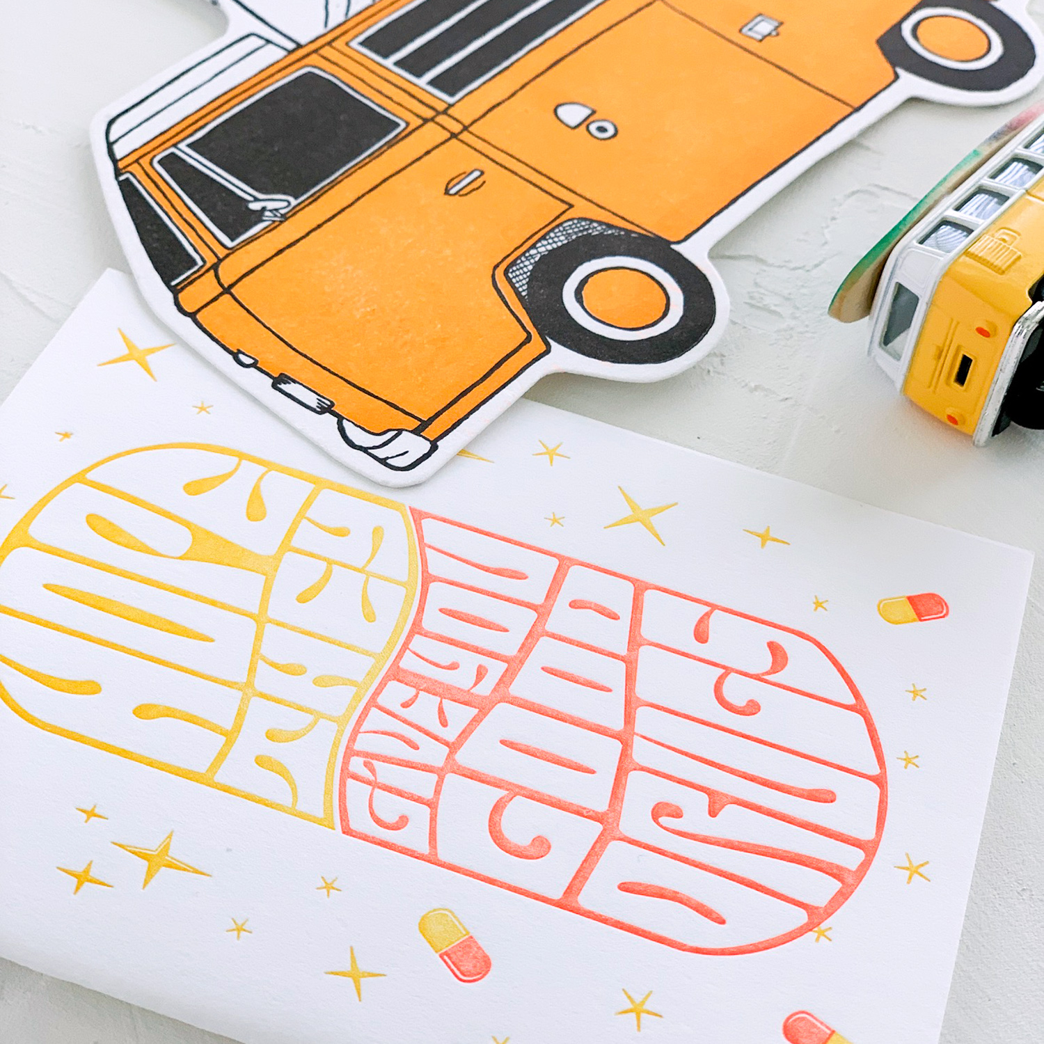 "Paper on My Desk, a new mini series by Akula Kreative | Yellow and Orange ""Get Well"" Letterpress Card, Yellow VW Bus Letterpress Postcard"