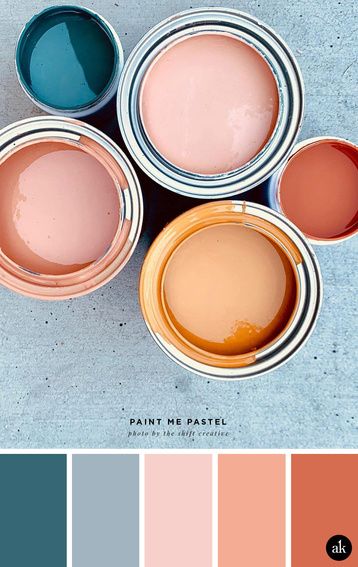 a pastel-paint-inspired color palette // blush, salmon (pink), orange, indigo blue // photo by Shift Creative