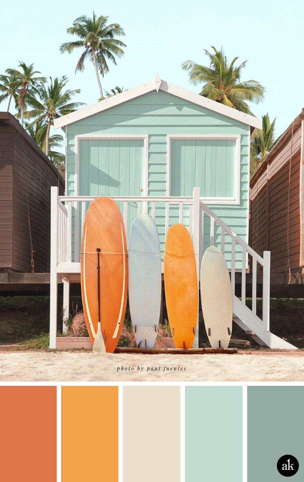a beach-house-inspired-color-palette // burnt orange, tangerine, sand, faded aqua // photo by Paul Fuentes