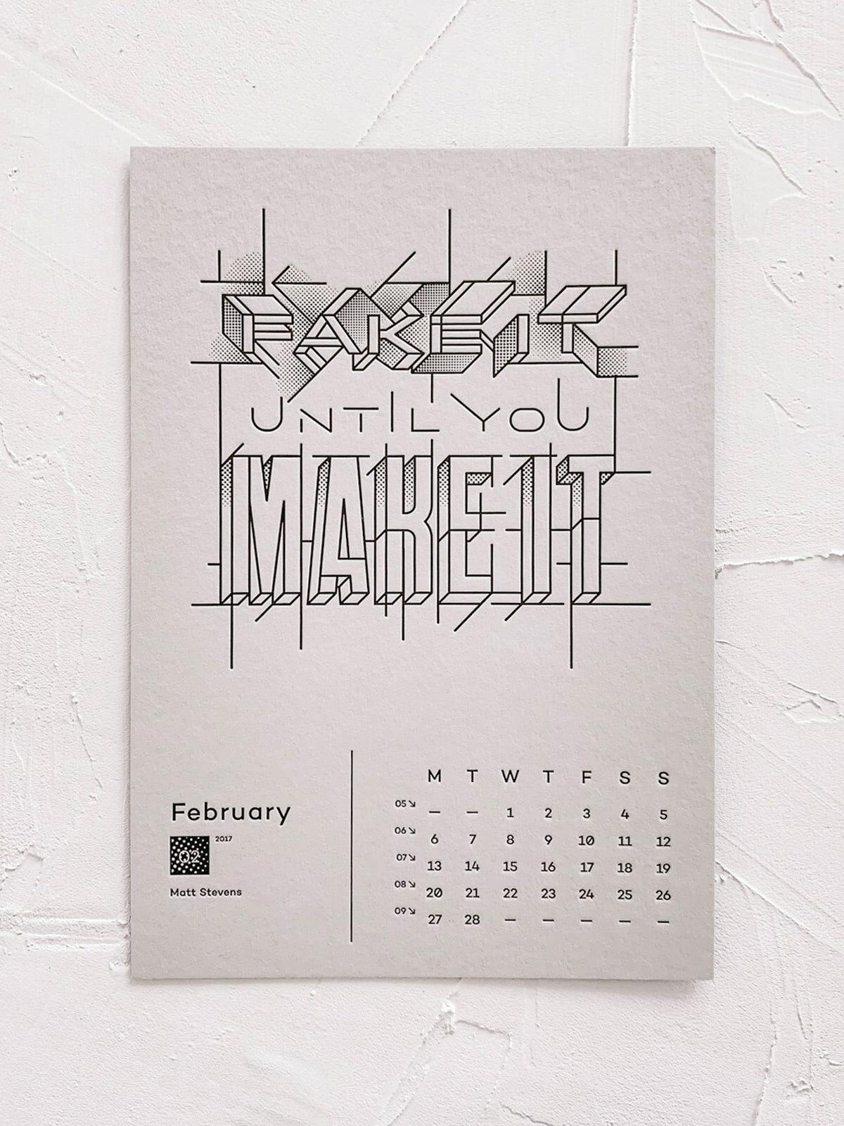 Mr Cup Letterpress Calendar | Design by Matt Stevens | Fake it until you make it.