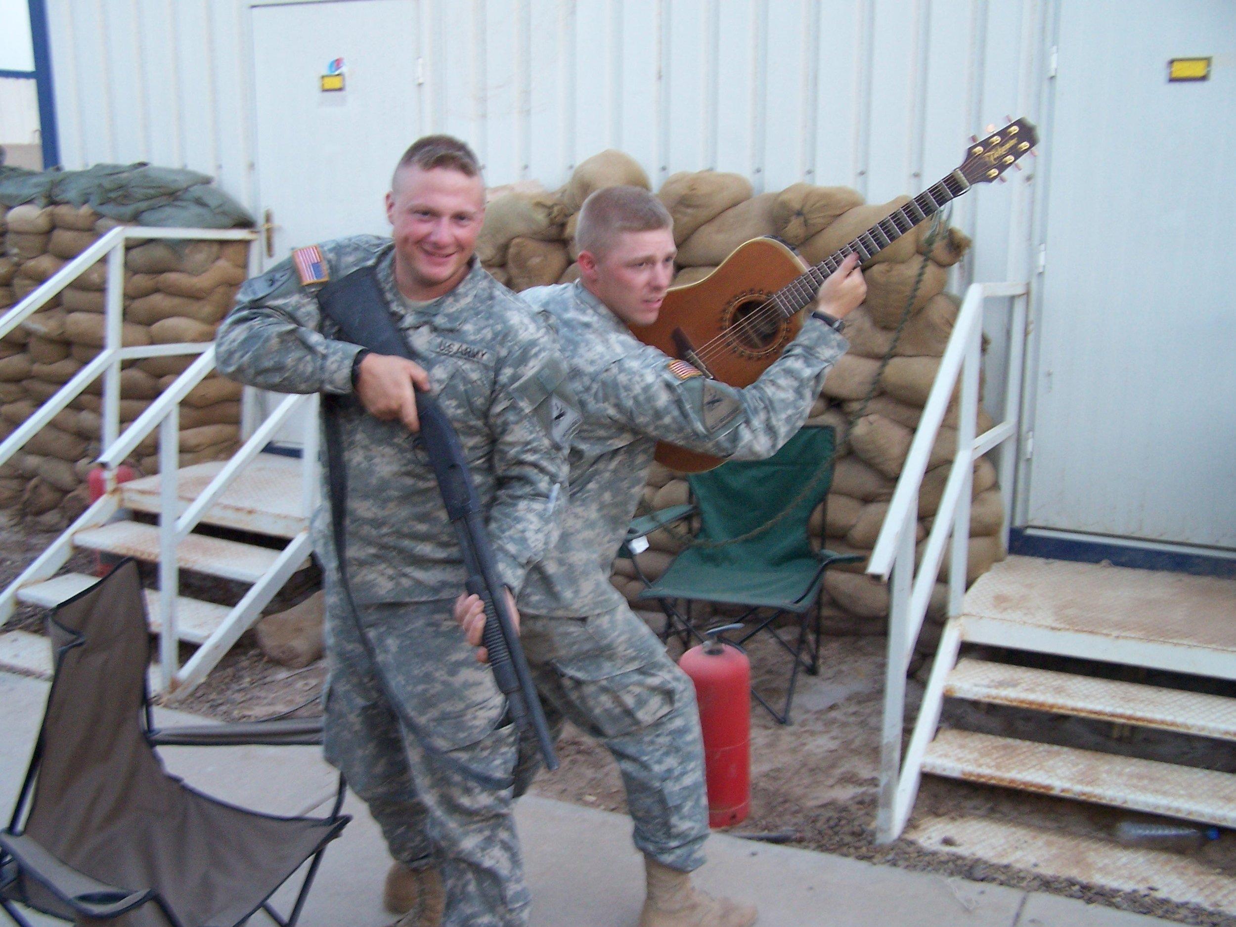 Josh Revak in Camp Taji, Iraq Musical Weapon.JPG