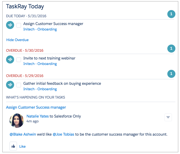 TaskRay Today Inbox for Your Home Page