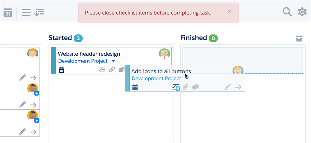 With validation rules you can control who can move a task and when.