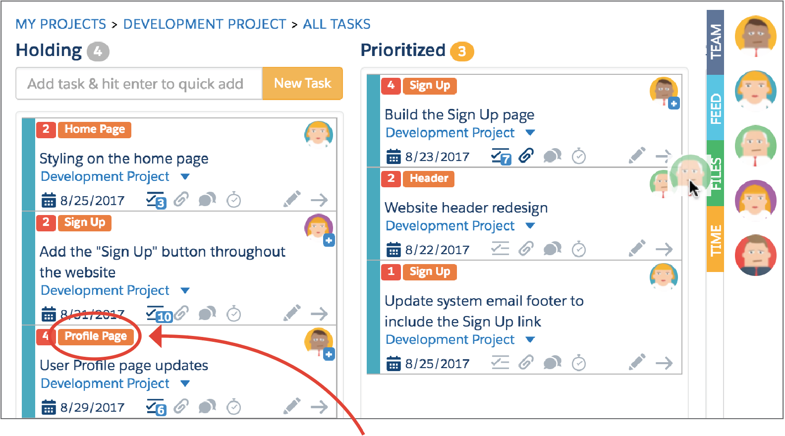 Add topics to tasks to identify the big themes within a project. You can also use topics to assign story points to tasks