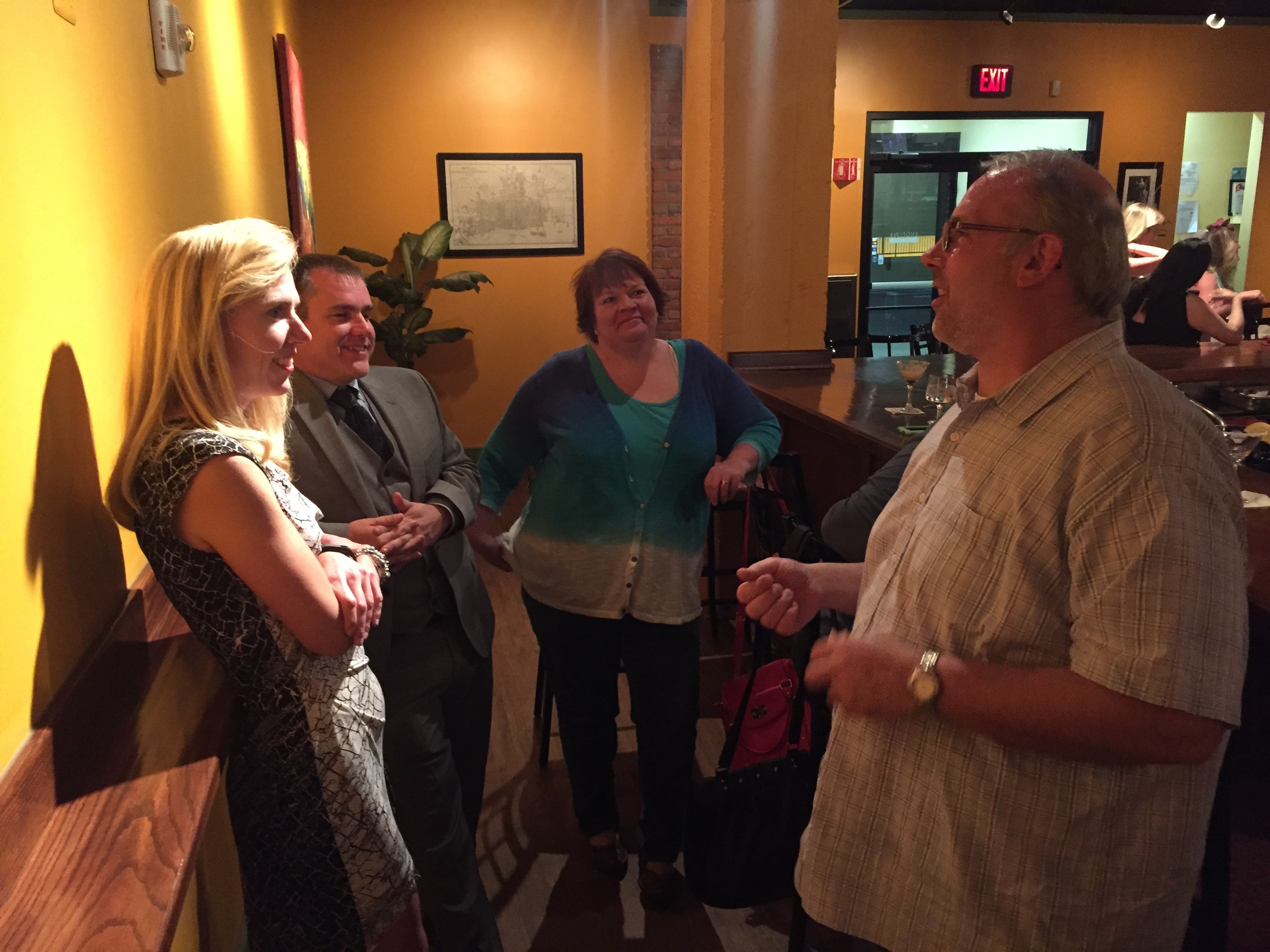 Mike, co-owner of Angelina Italian Bistro, talks with a few of our guests. Turns out they were old friends!