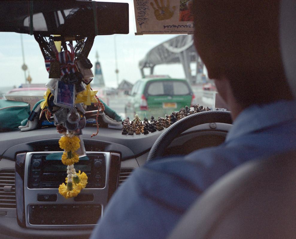 Temple in a Taxi. Yangon, Myanmar, 2013.