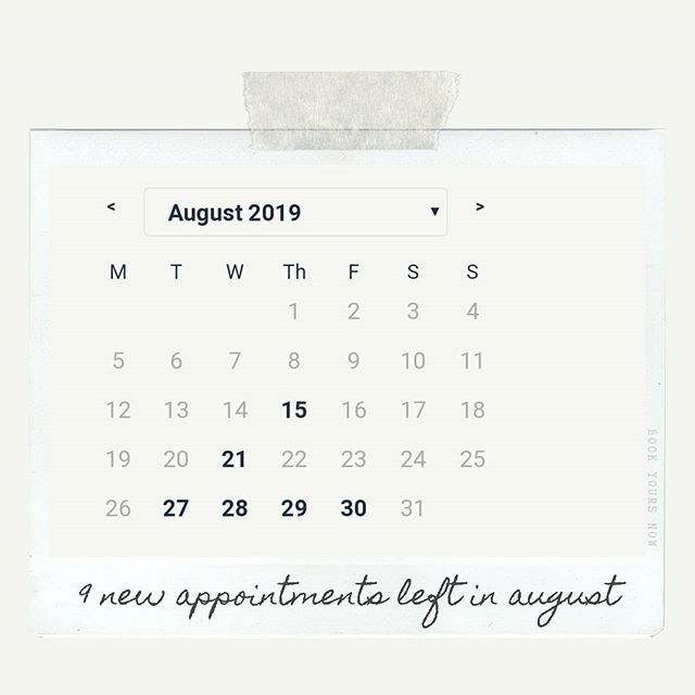 Only 9 spots left for August -- either new appointments or annual maintenance sessions. Now's the time to book if you want to get in before the Fall :)