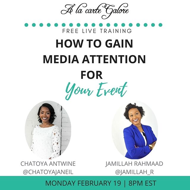 One of the biggest struggles for entrepreneurs planning events for their business is event marketing. Event marketing is more than just posting a flyer on social media and praying that you'll sell out your event. You need an event marketing to help increase your visibility. . One strategy to include in your plan is media! Join @ jamillah_r and myself next Monday at 8pm est as we teach How to Gain Media Attention For Your Event. Limited registration via link in bio   @alacartegalore