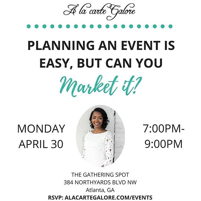 Maybe you can plan your own events. You can find a venue, get flyers made, and hope that people show up. Posting a flyer and telling people to click the link in your bio won't sell out your event, but an event marketing plan will. . One of my recent clients just made $18k with less than 20 people. You don't need to have an event of 100 people for it to be successful. Successful events are determined by value (no fluff), profit, and impact. . Join me tomorrow for a free live in person event to learn how to market your events so that you can fill seats with the right people, make a profit, and help your attendees succeed. Less than 10 seats left, register at alacartegalore.com/events or link in bio! #PlanPromoteProfit