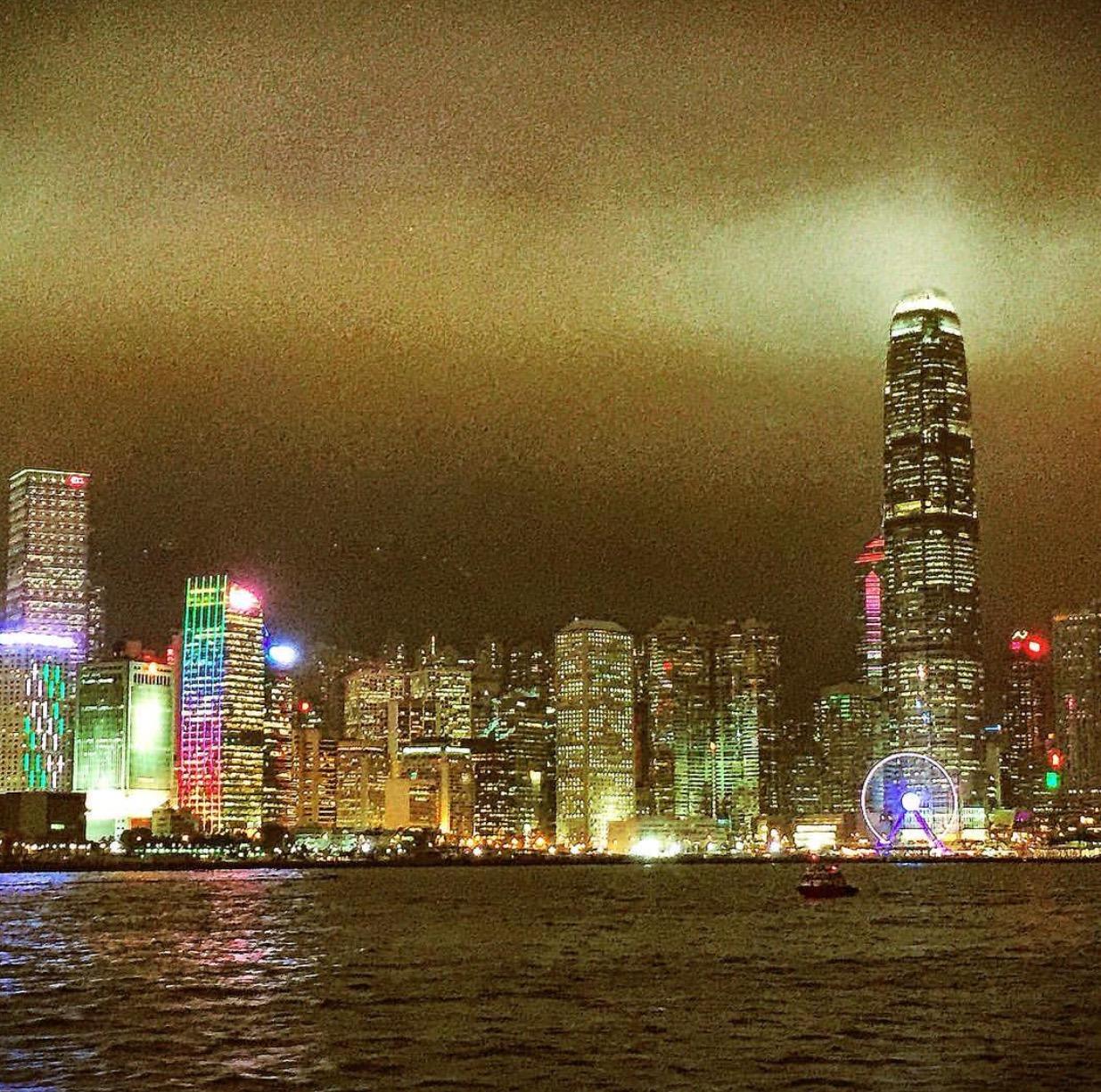 Nighttime views via The Star Ferry