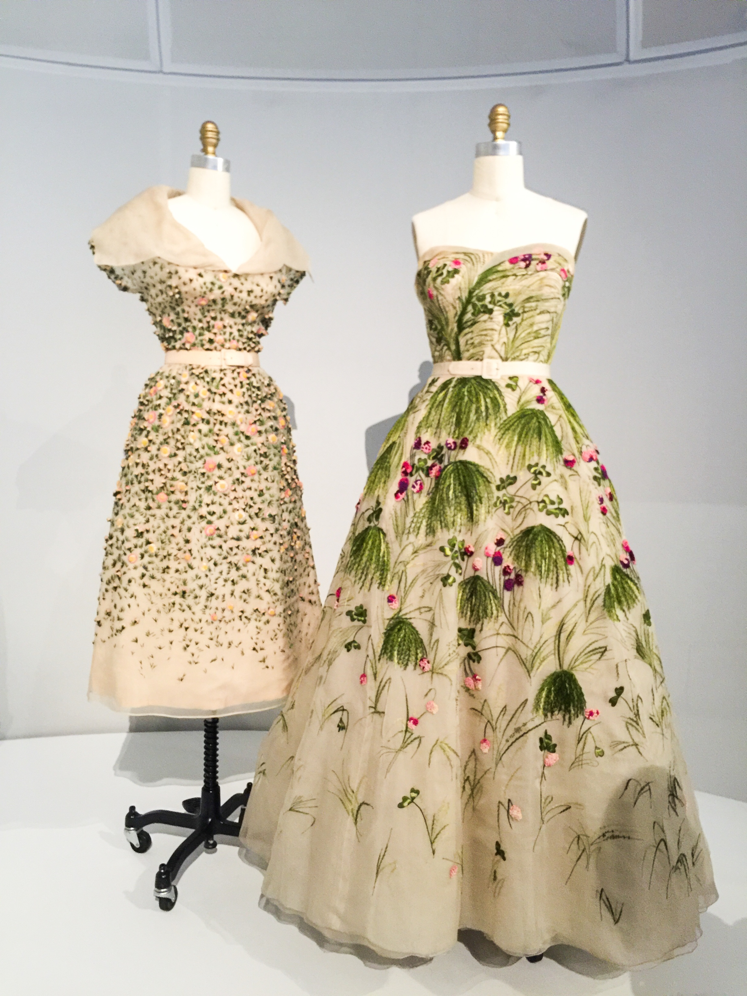 """House of Dior, """"Vilmiron Dress"""" SS 1952, haute couture (left), """"May"""" Dress SS 1953, haute couture (right)"""