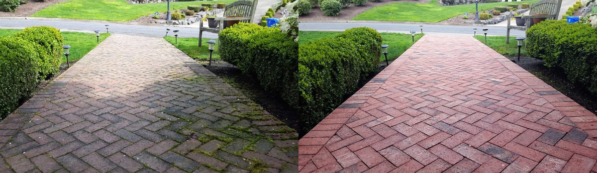 Before and after. This slippery, dirty brick sidewalk is now perfectly clean, restoring beauty to the entrance of the home.