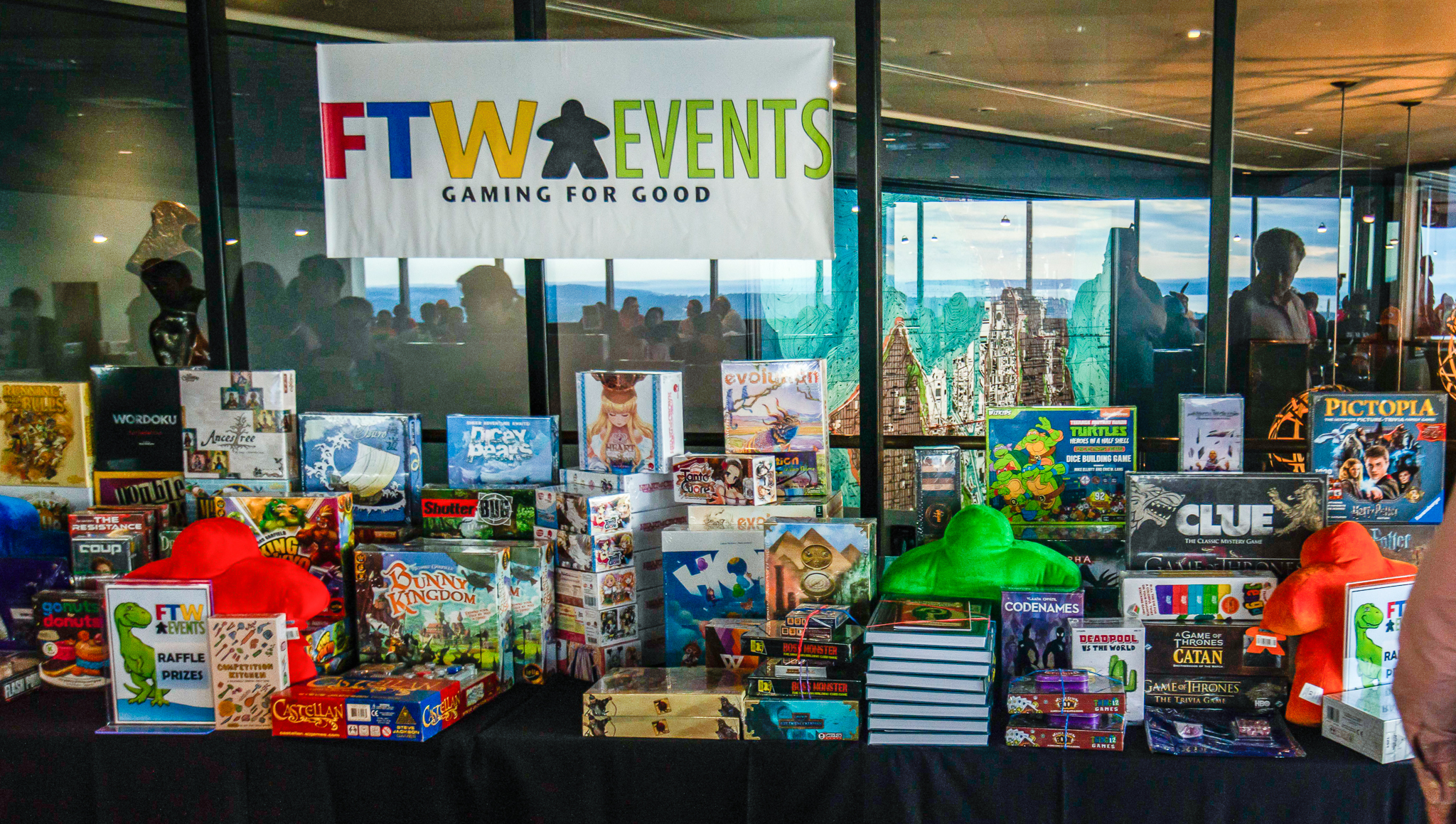 Only part of the prize table from our Night of Board Gaming for Good, PAW West Edition 2018.