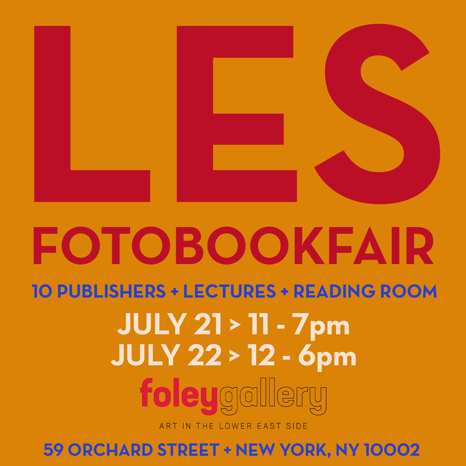 Foley Gallery and +KGP have put together a book fair in New York, you should come out!