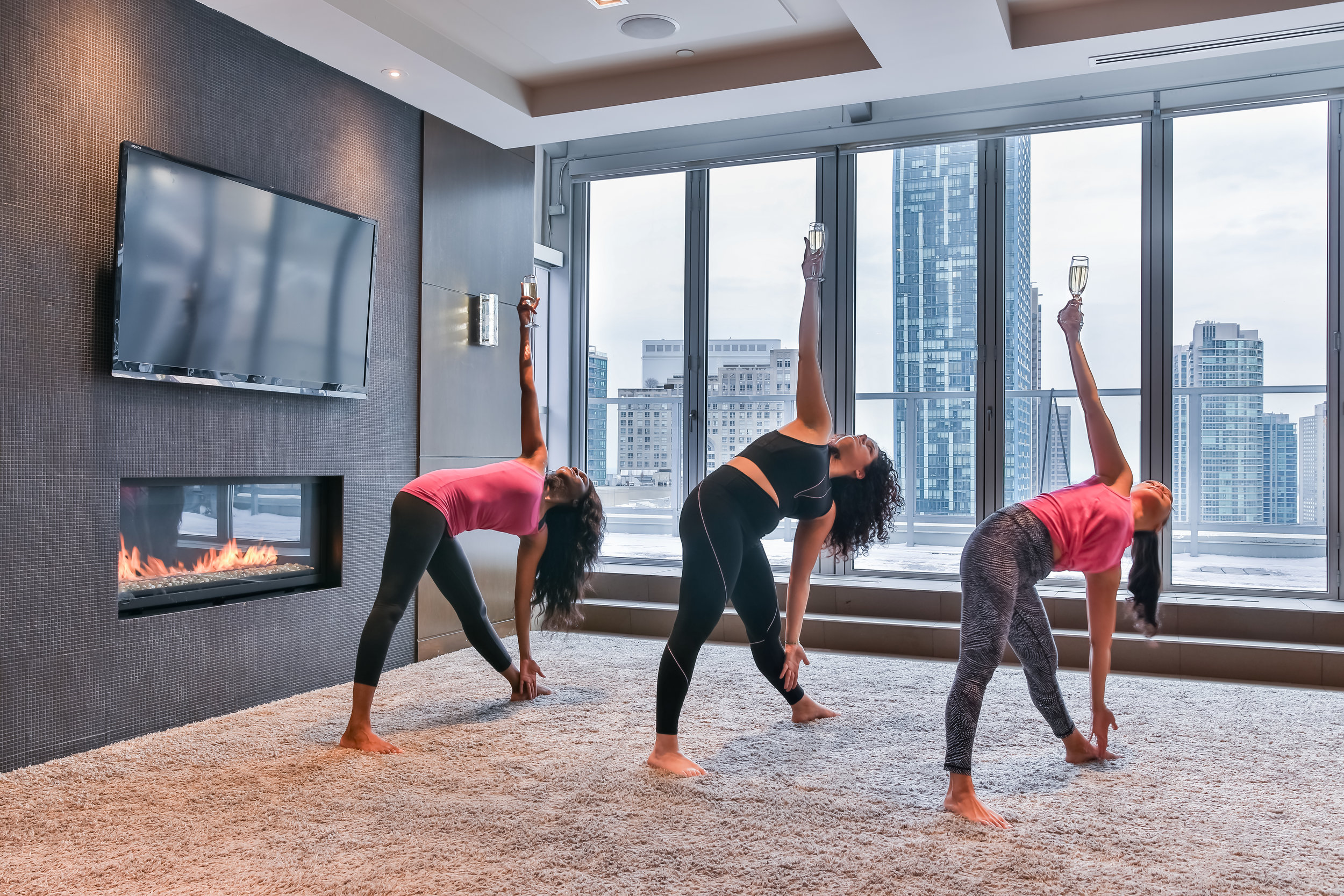 TNCB YOGA & CHAMPAGNE CLASS: - Yoga Class for up to 10 individuals - $2753 bottles of Champagne & delivery - $250Glassware & server for 1 hour - $75
