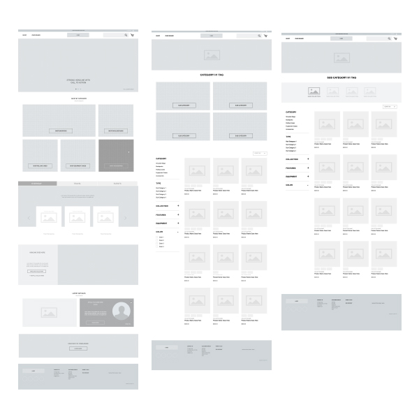 Wireframes - Wireframes were created externally by an agency partner. I was involved in defining the goals and flow of the pages as well as collecting feedback from the brand and making sure it was implemented.Wireframes provided by Shore Digital.