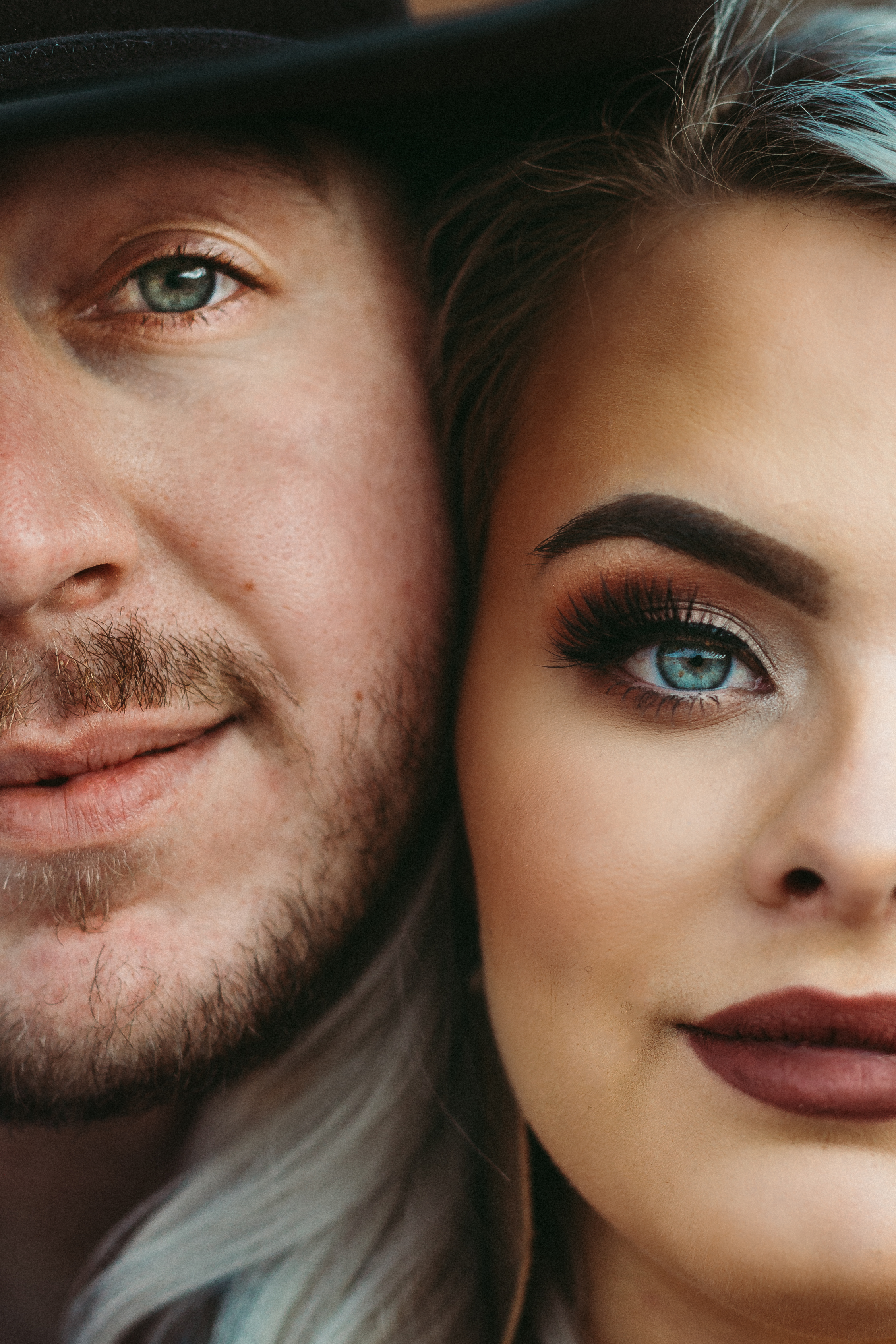 Side by side close up of engaged couple accenting their facial features #engagementphotos #engaged #personality #amarillotexas #engagementphotographer #lifestylephotos #amarillophotographer #locationchoice #texasengagementphotos #engagment #tealawardphotography #westernstyle