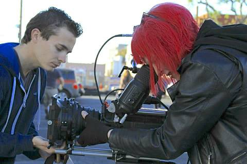 1st AC Brandon Riley giving me a hand with our RED on 'Quarantine LA'