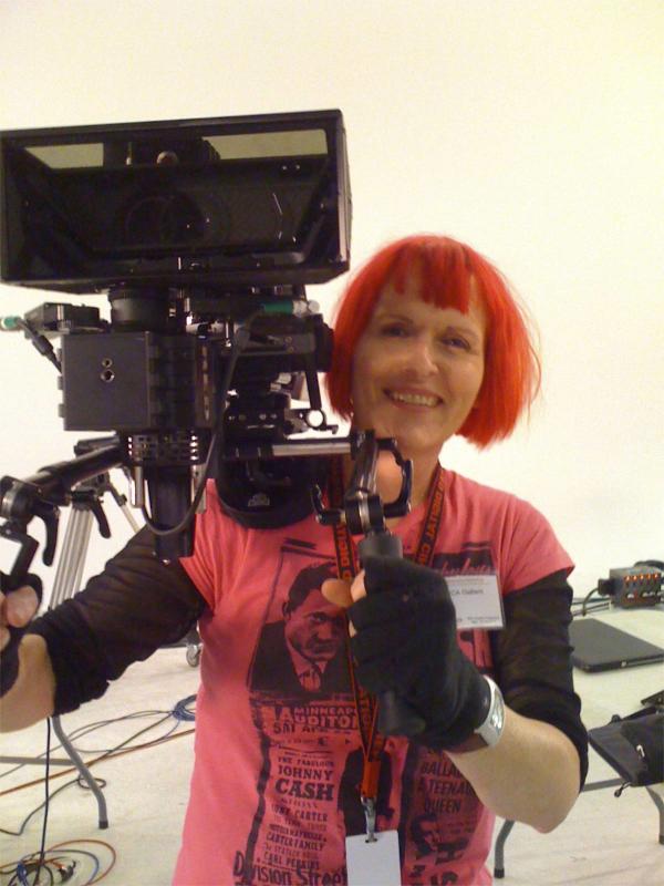 Here I'm hand-holding a 3D RED rig in a way too cold studio in Hollywood.
