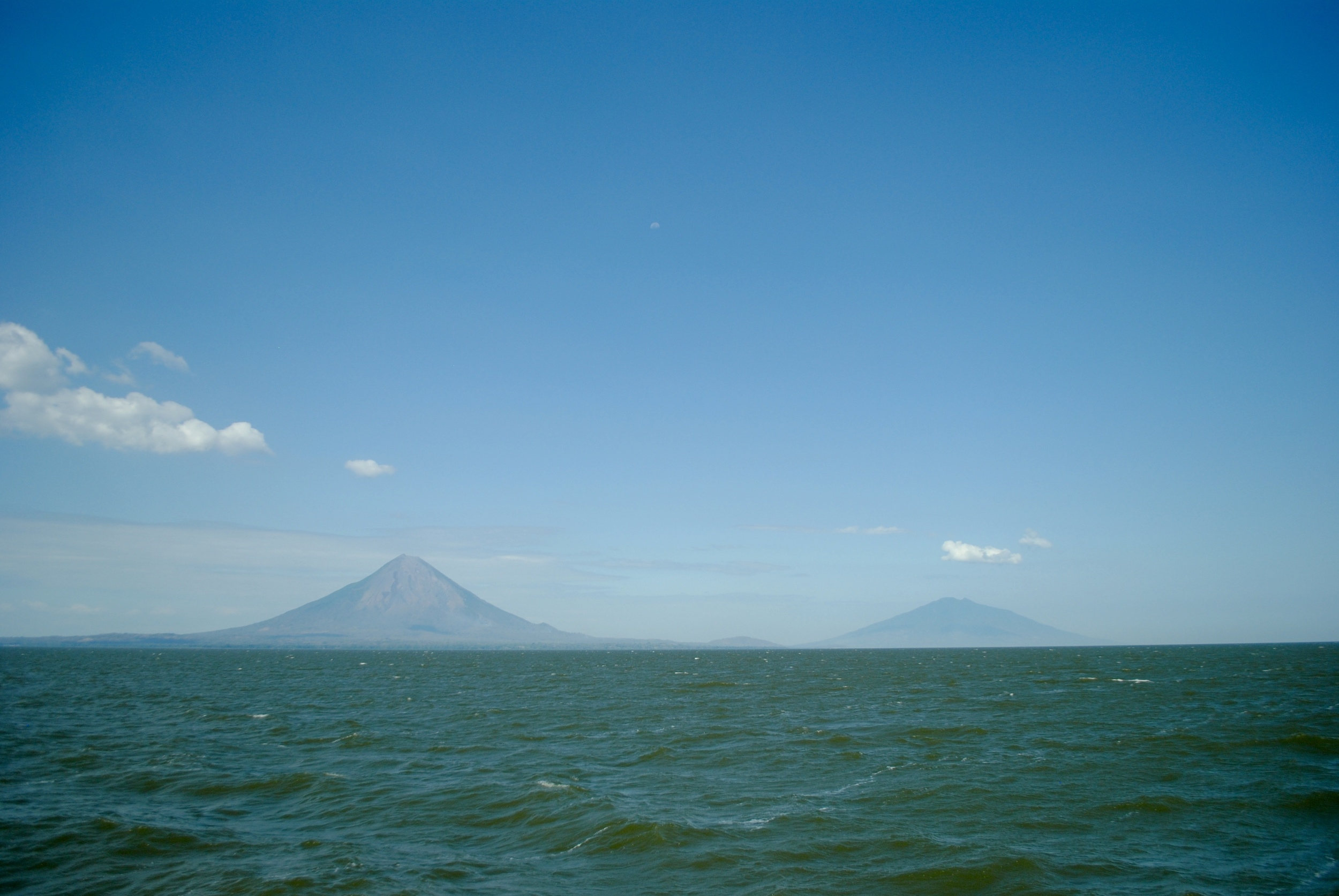 On the ferry heading to Isla de Ometepe - volcan Concepcion and Madares in the distance