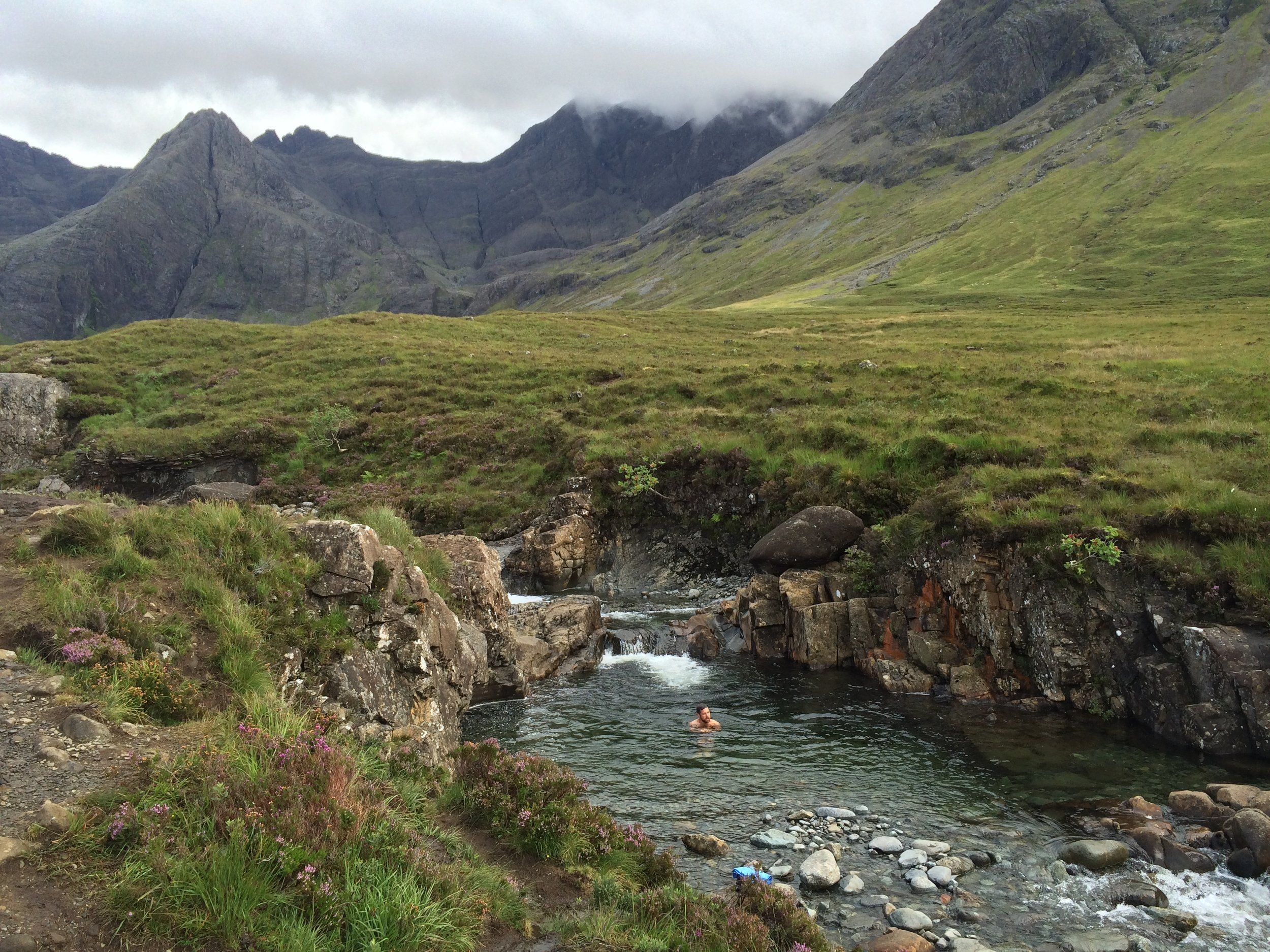 Taking a dip at the Fairy Pools, well the braver of us two did!