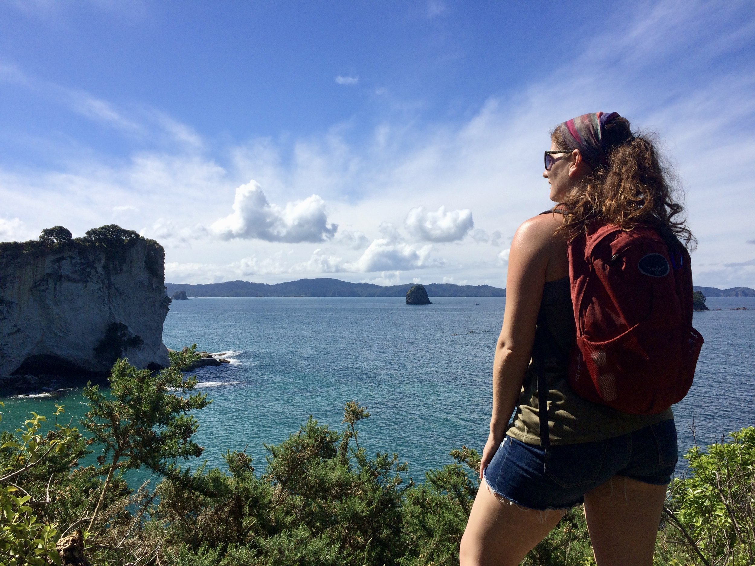 Hiking at Cathedral Cove in New Zealand.