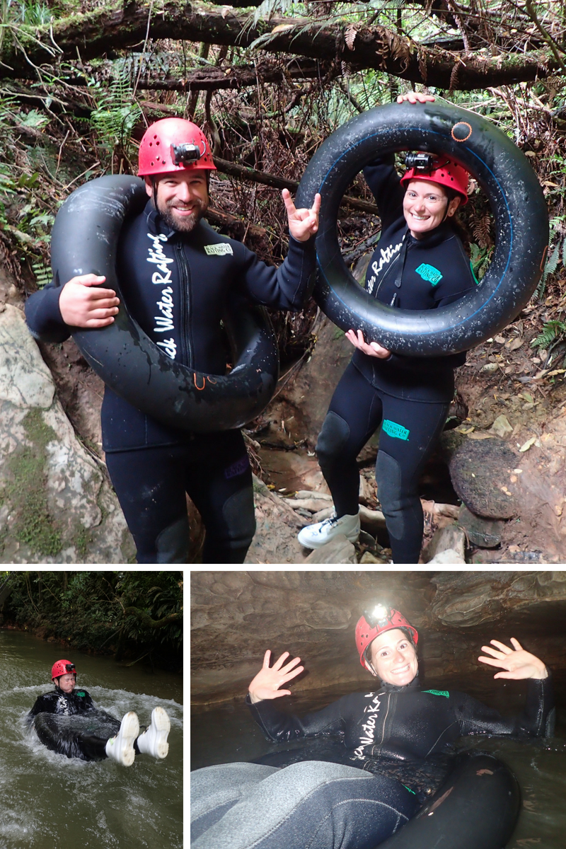 Blackwater Rafting in Waitomo! This is me getting in the spirit of the day and a not so graceful entry into the water :)