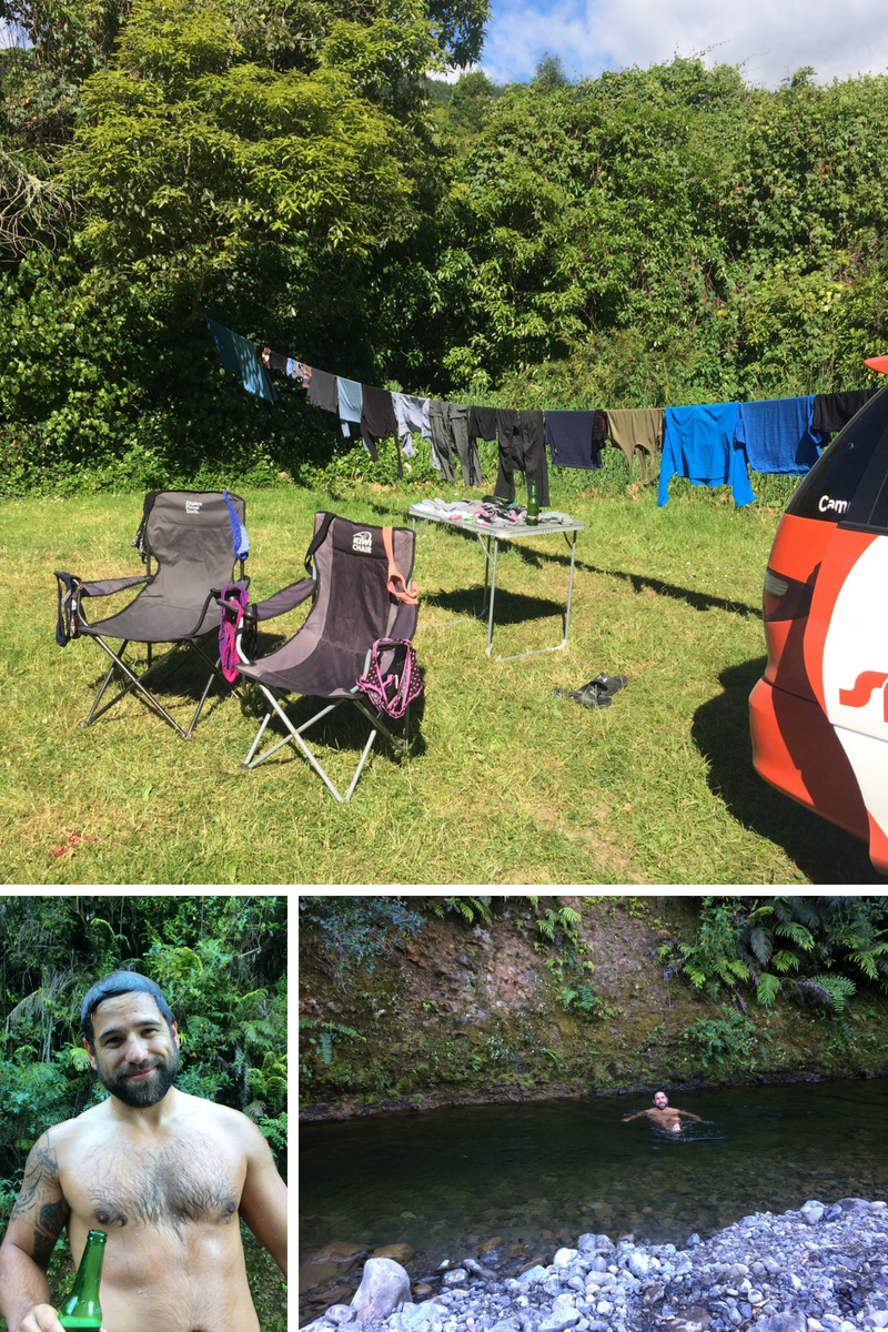 Life in a campervan at this magical campsite; laundry day and a nice river bath. I'd like to say it was refreshing, but it was mostly just freezing. (Yep, those are my pink polka-dot undies!)