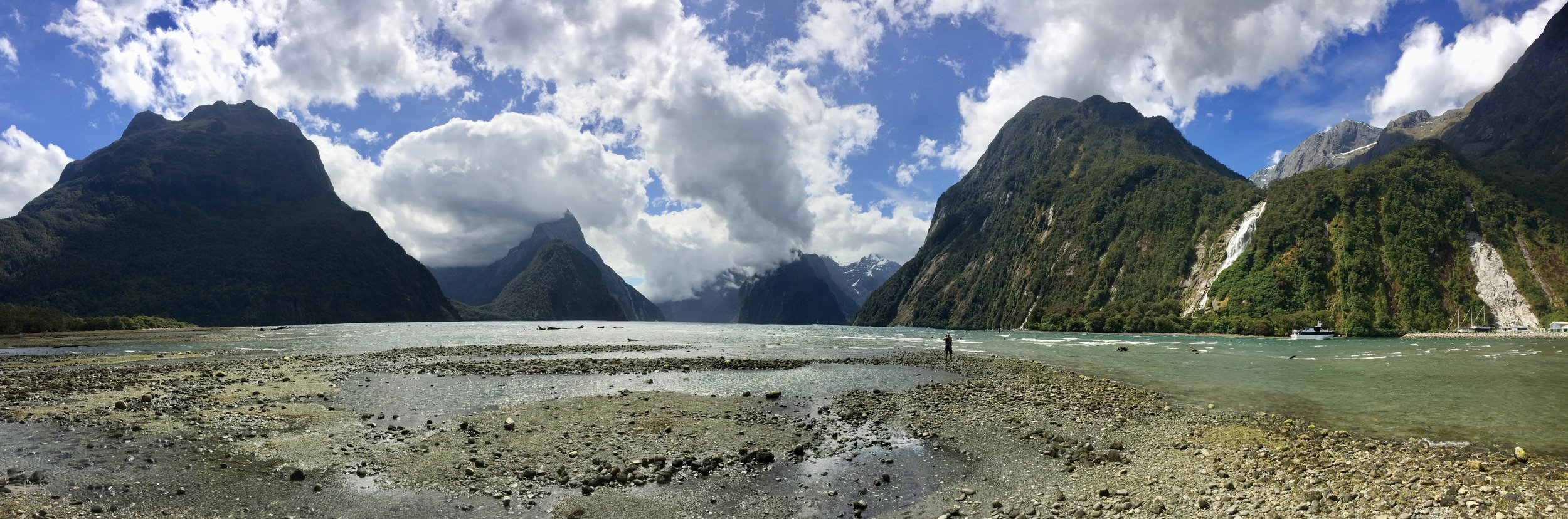 Arriving in Milford Sound with some sun and blue skies.