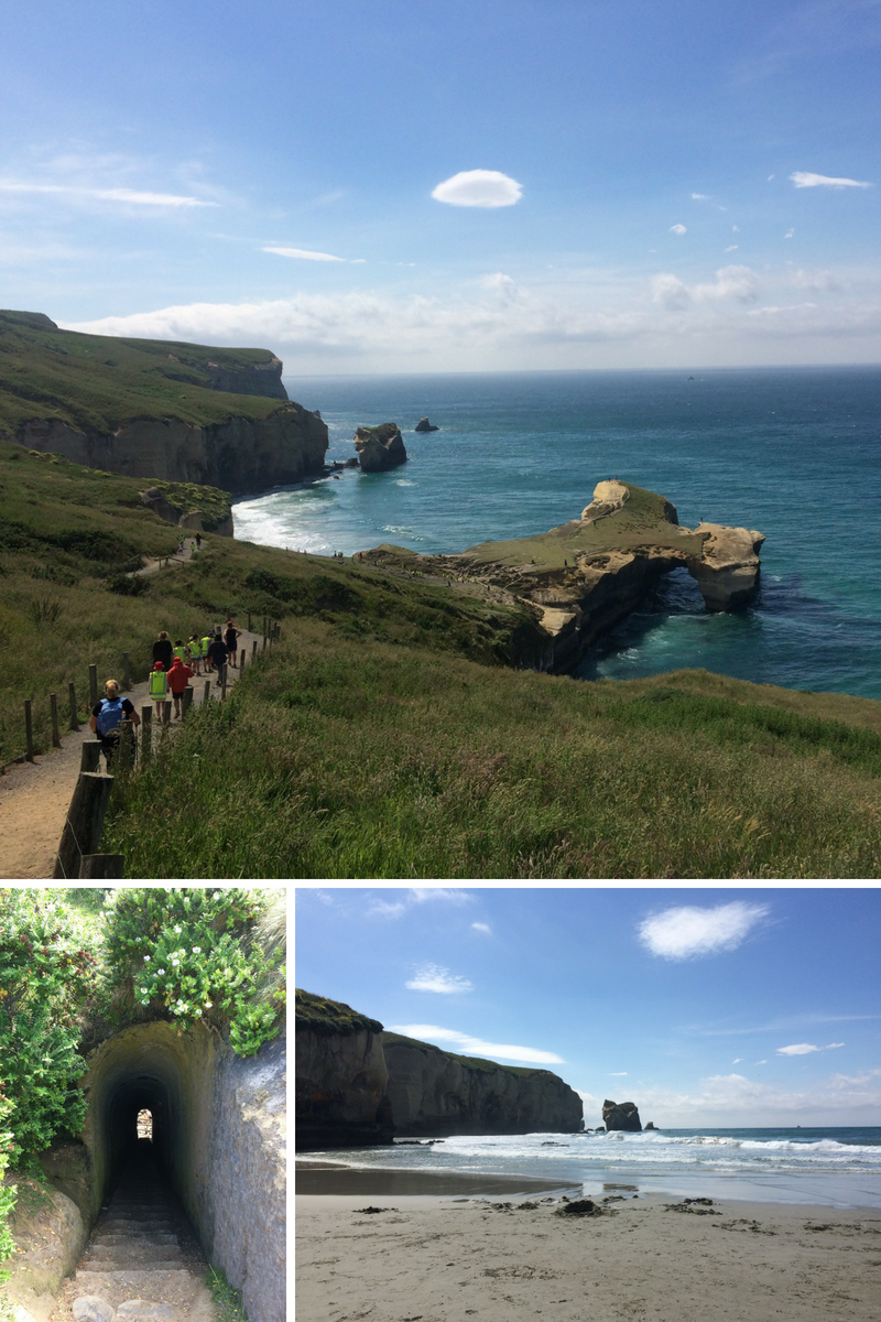 Tunnel beach near Dunedin - we arrived just in time for the school trip :)
