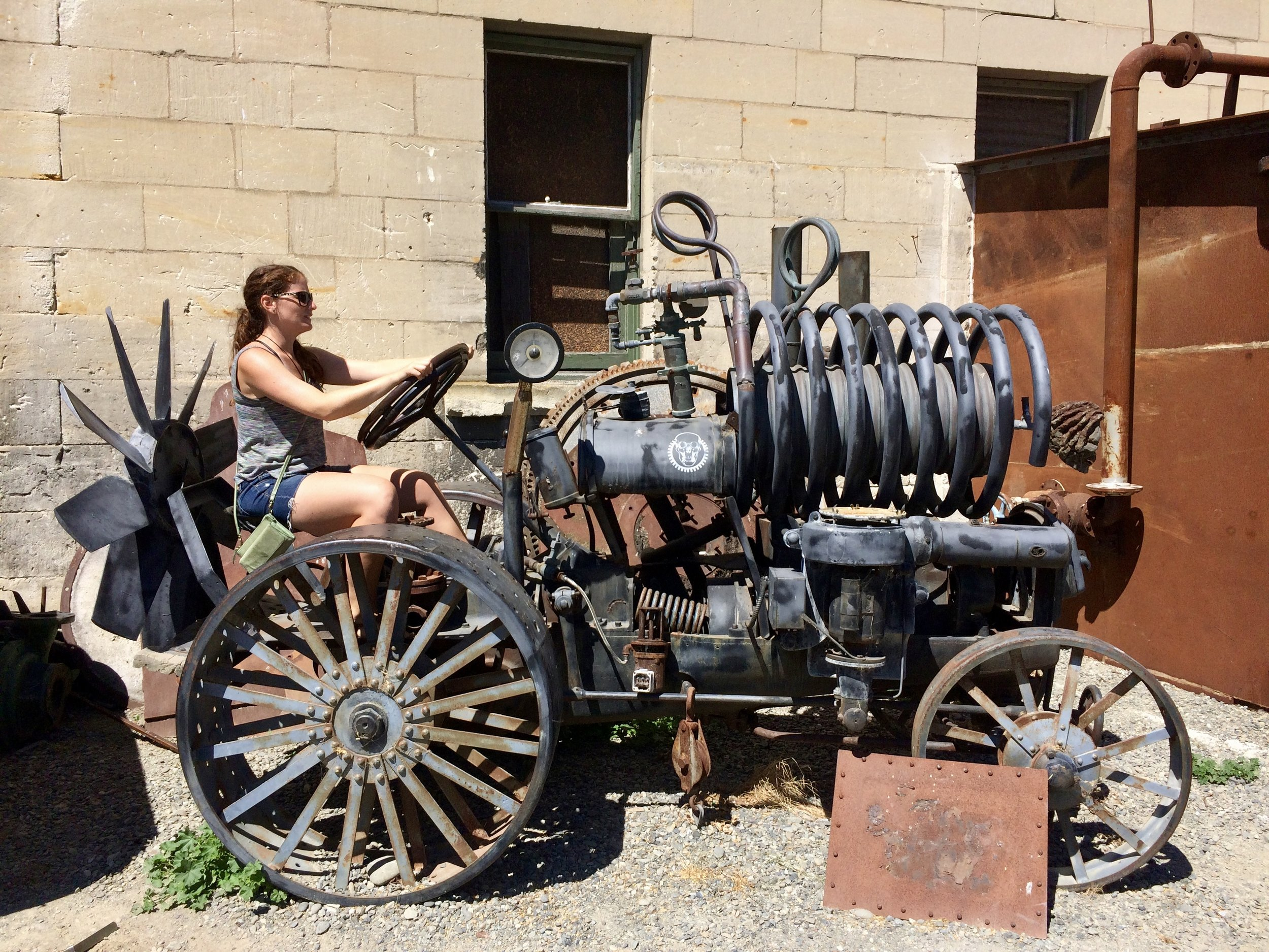 Test driving this contraption at the Steampunk HQ, Oamaru.