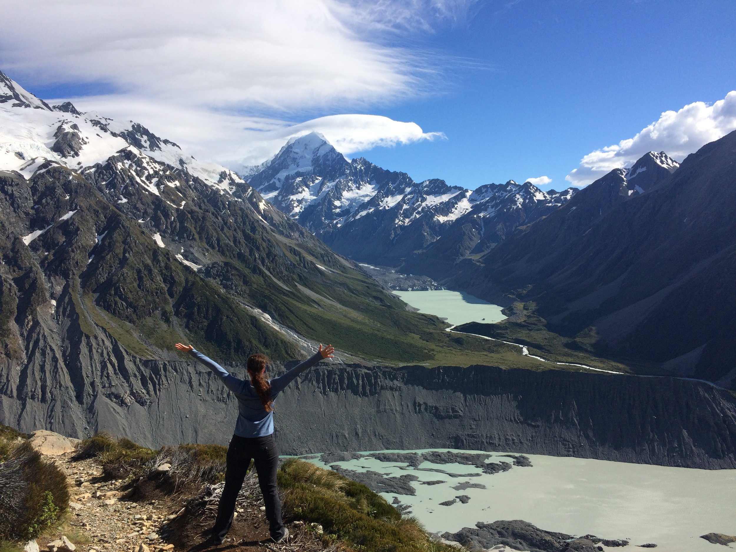 Views from the Saaly Tarns track, a 2200 ft climb, Mount Cook National Park. Hello mountains!