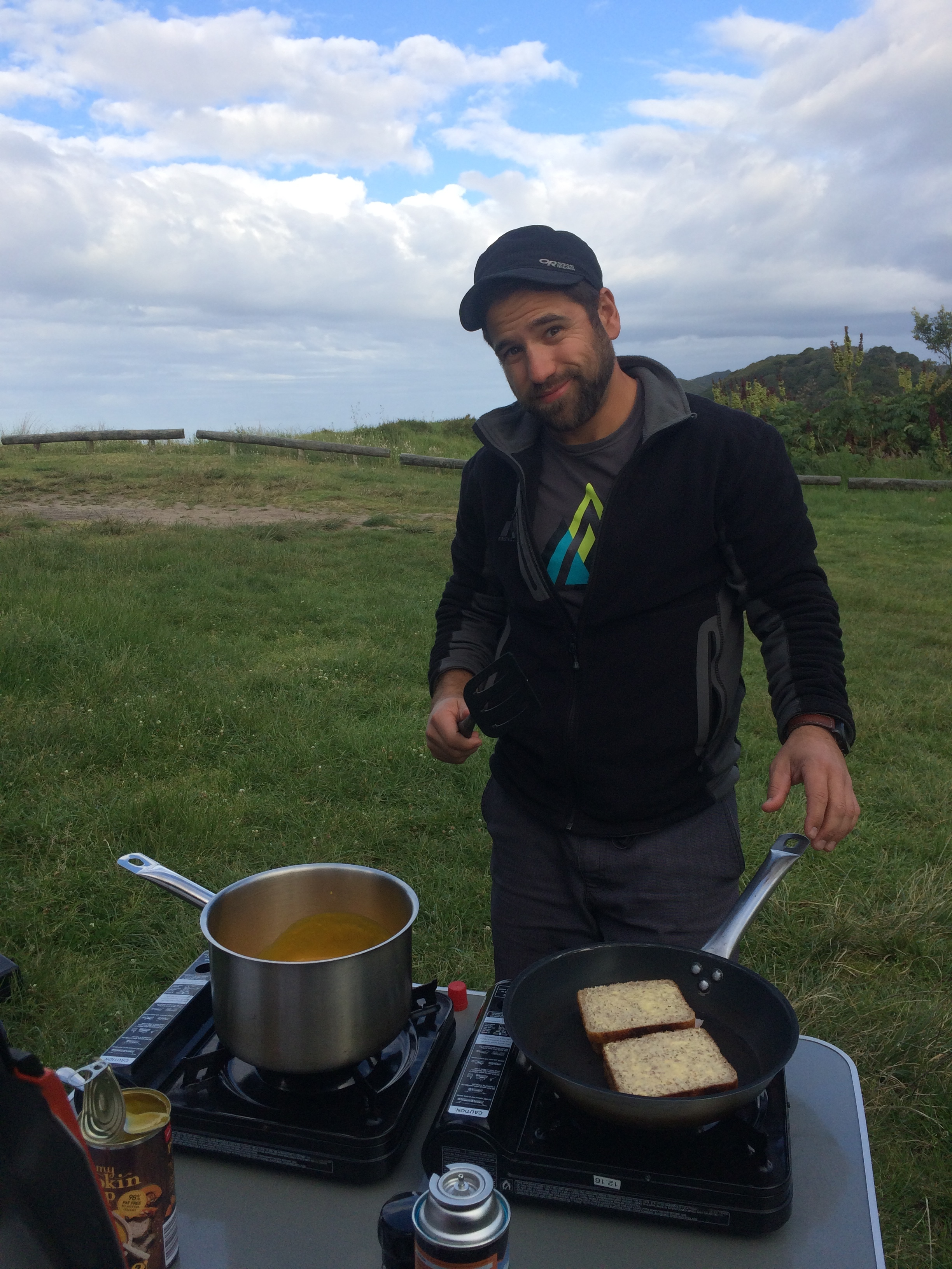Comfort foods and camping; grilled cheese and soup <3