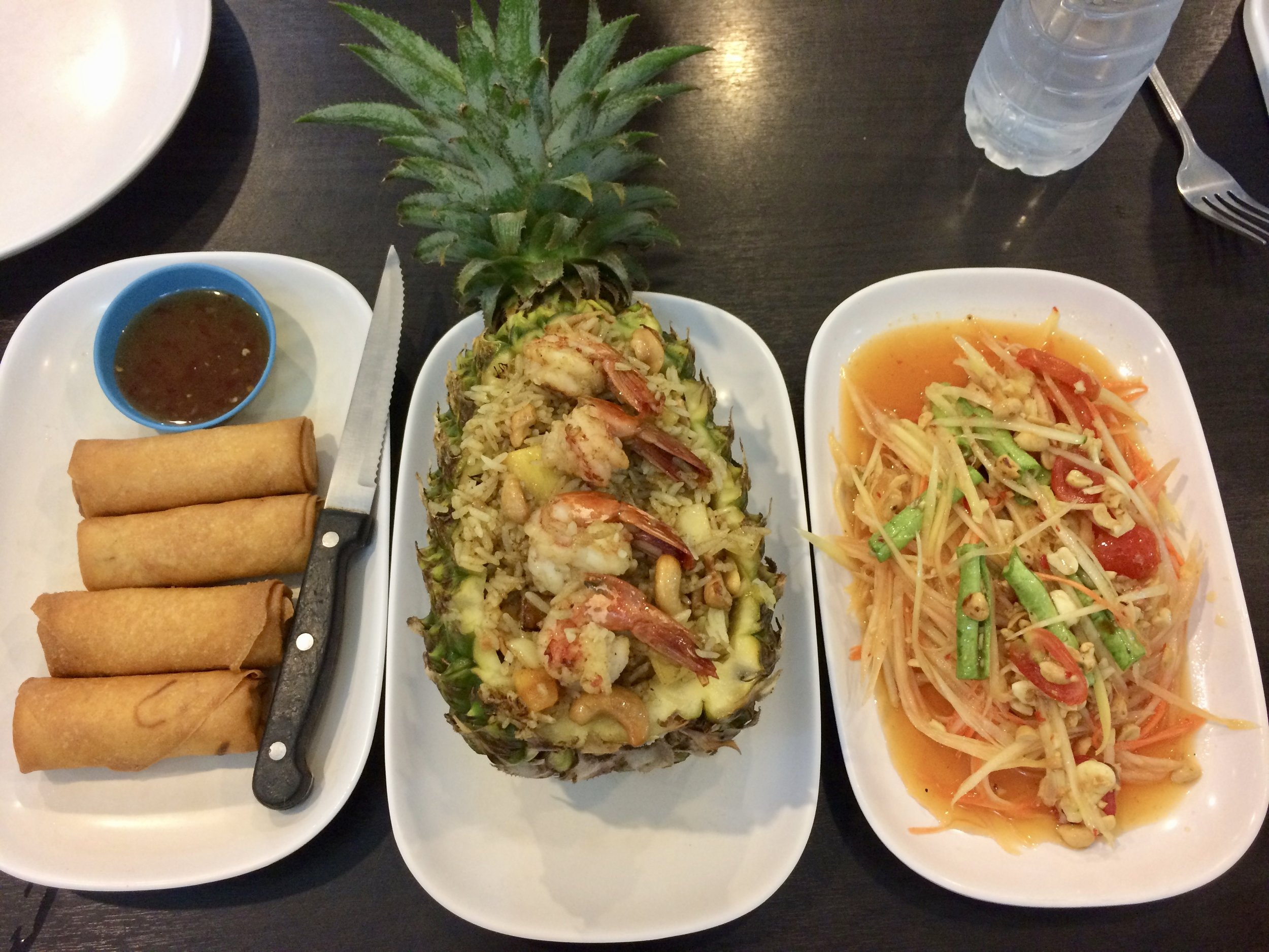 Spring rolls, pineapple rice with shrimp and mango salad, delish!