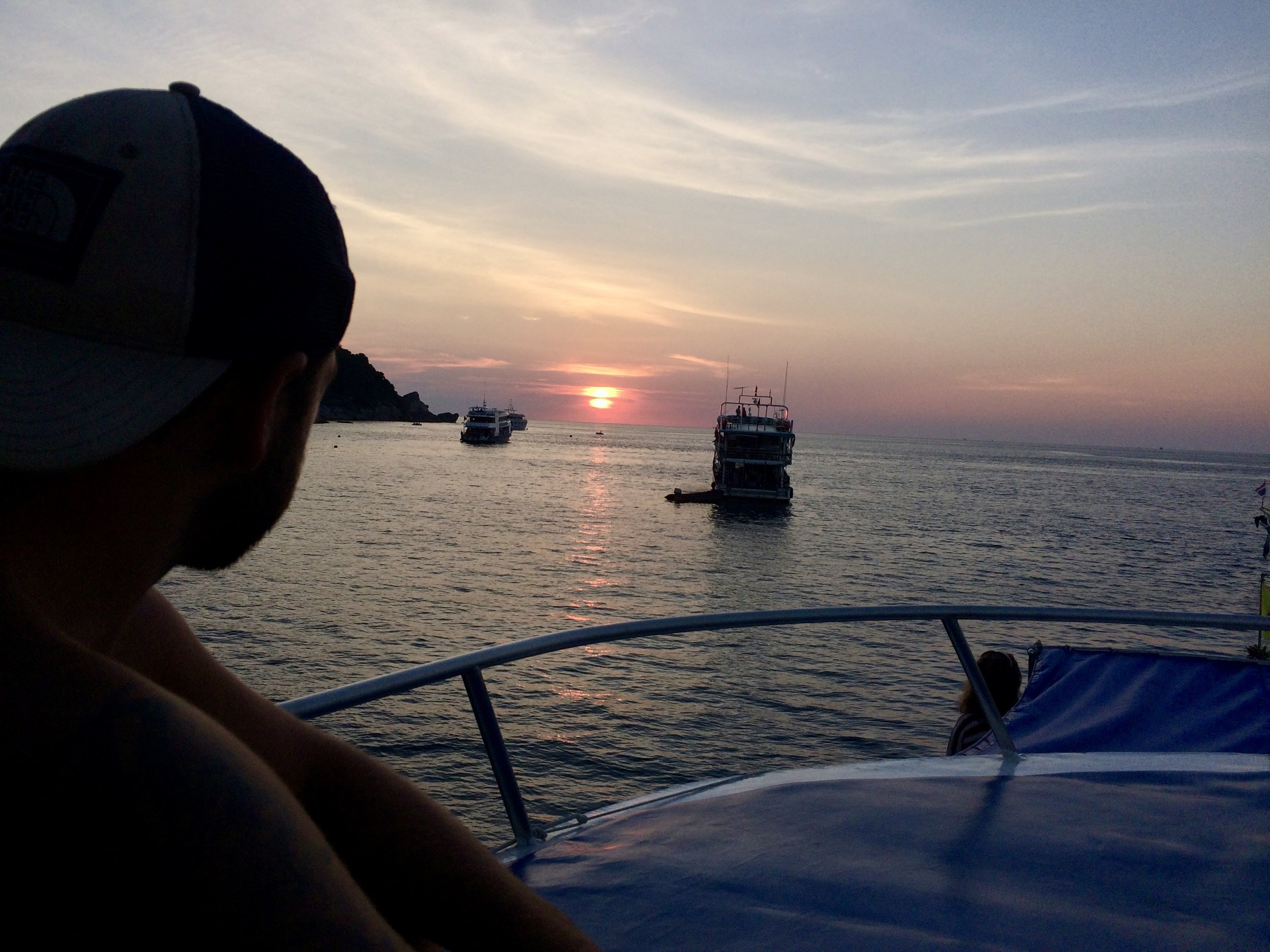 Sunsets on the liveaboard in the Similans.