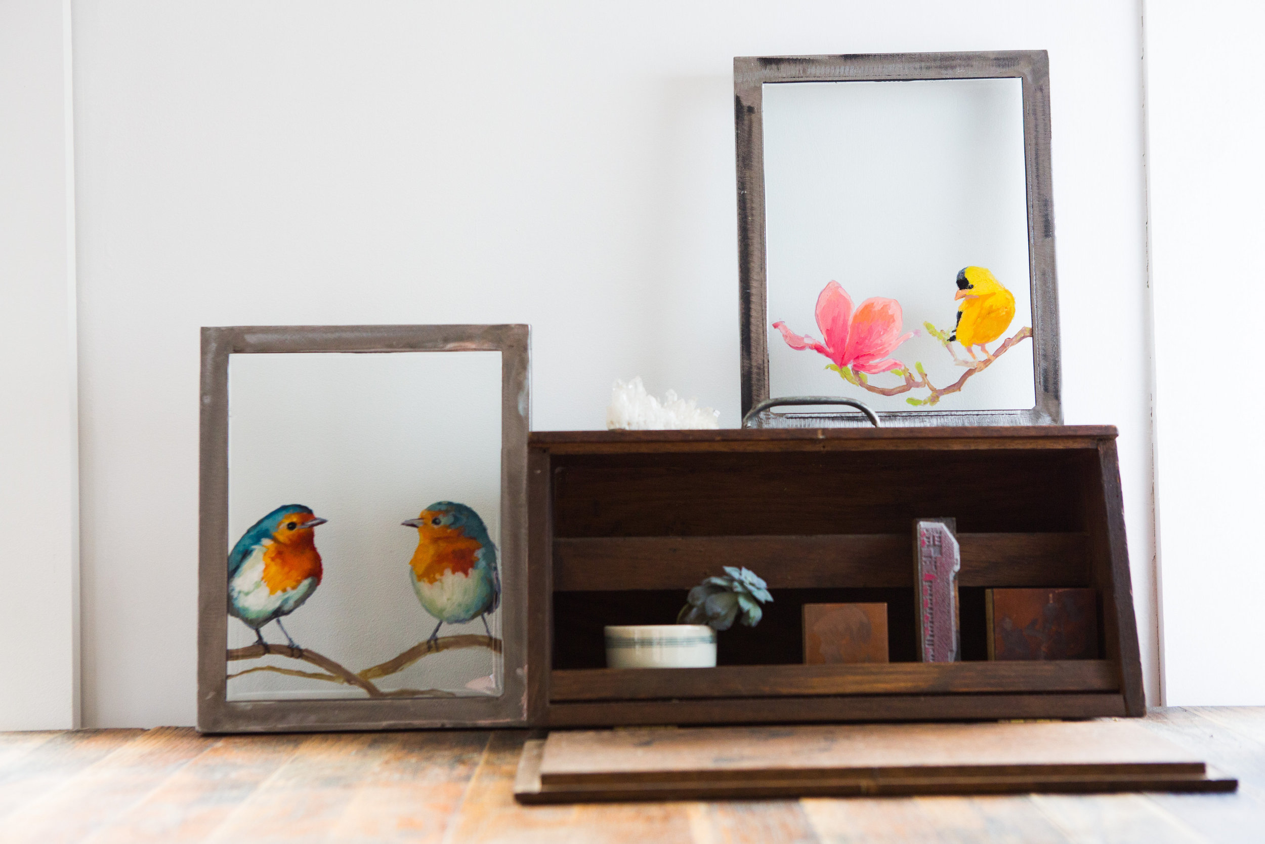 Birds on glass available in  online store  for purchase.      photo by Joanna Chattman