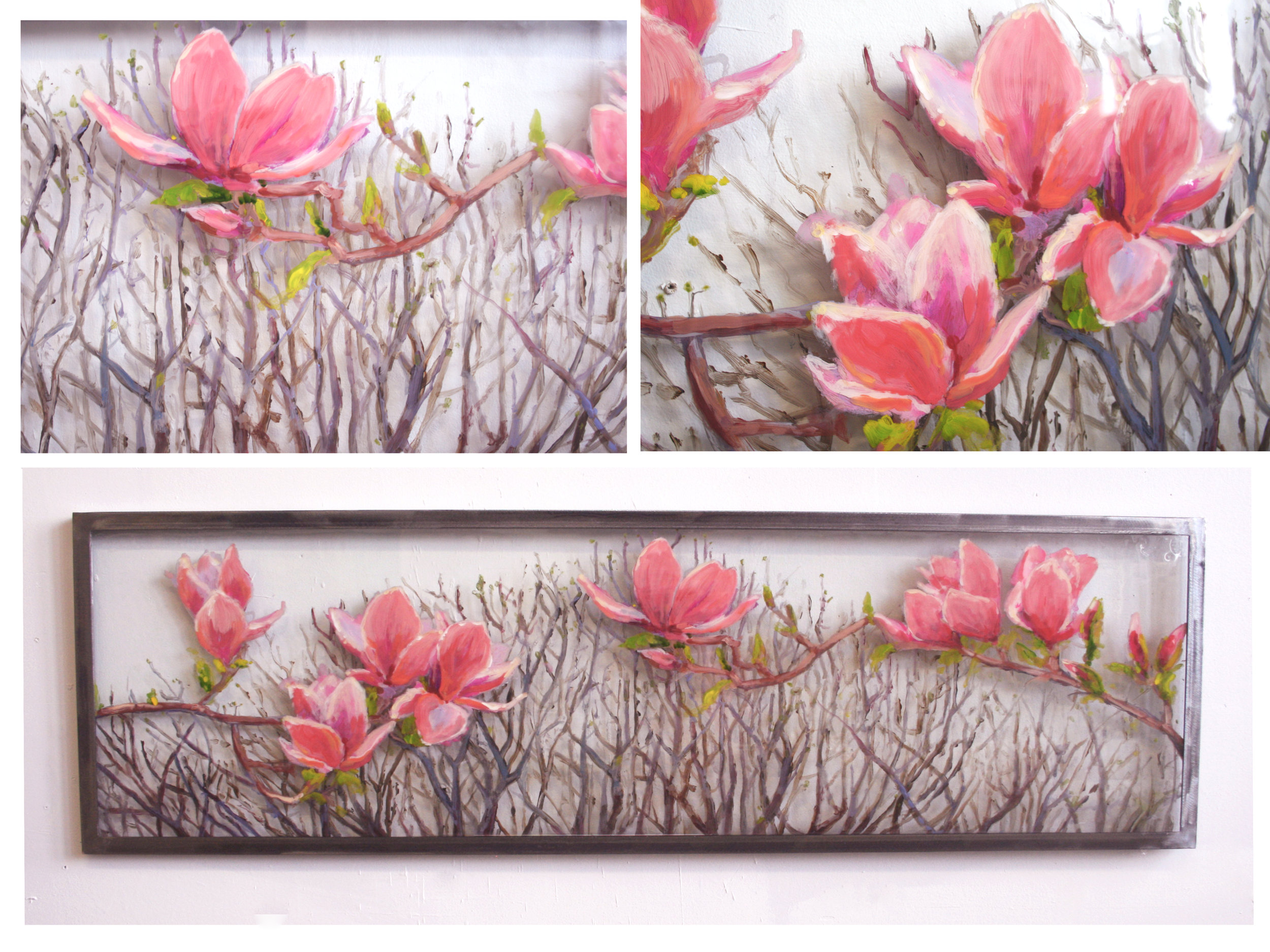 "Resin layered painting on glass 14"" x 48"" with brushed steel frame."