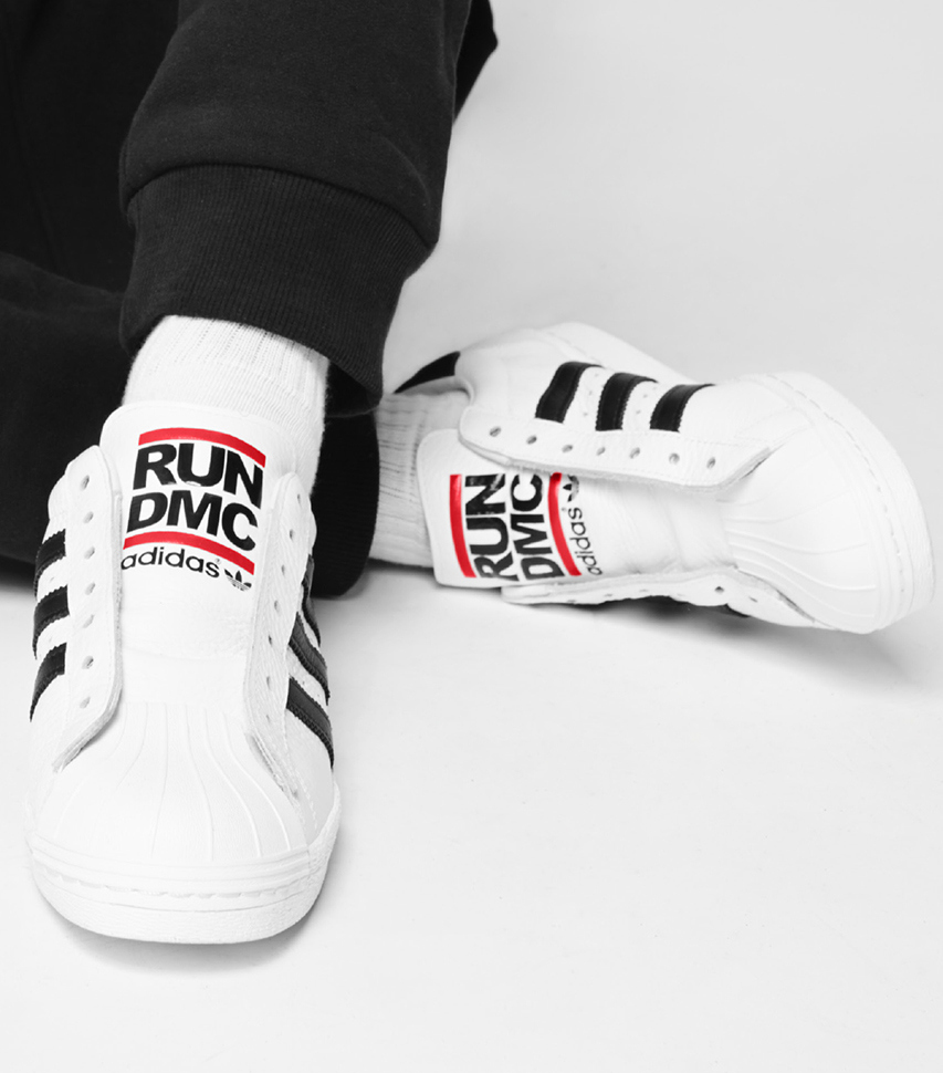 Nothing is more Run-DMC than unlaced Adidas shell-toes.