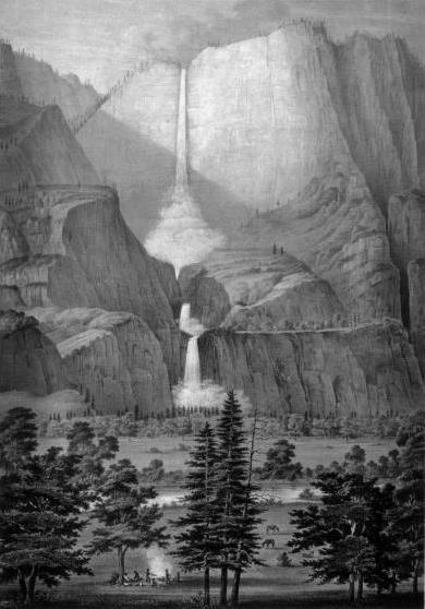 The Yo-Semite Falls,  Lithograph by Thomas A. Ayers (1855)