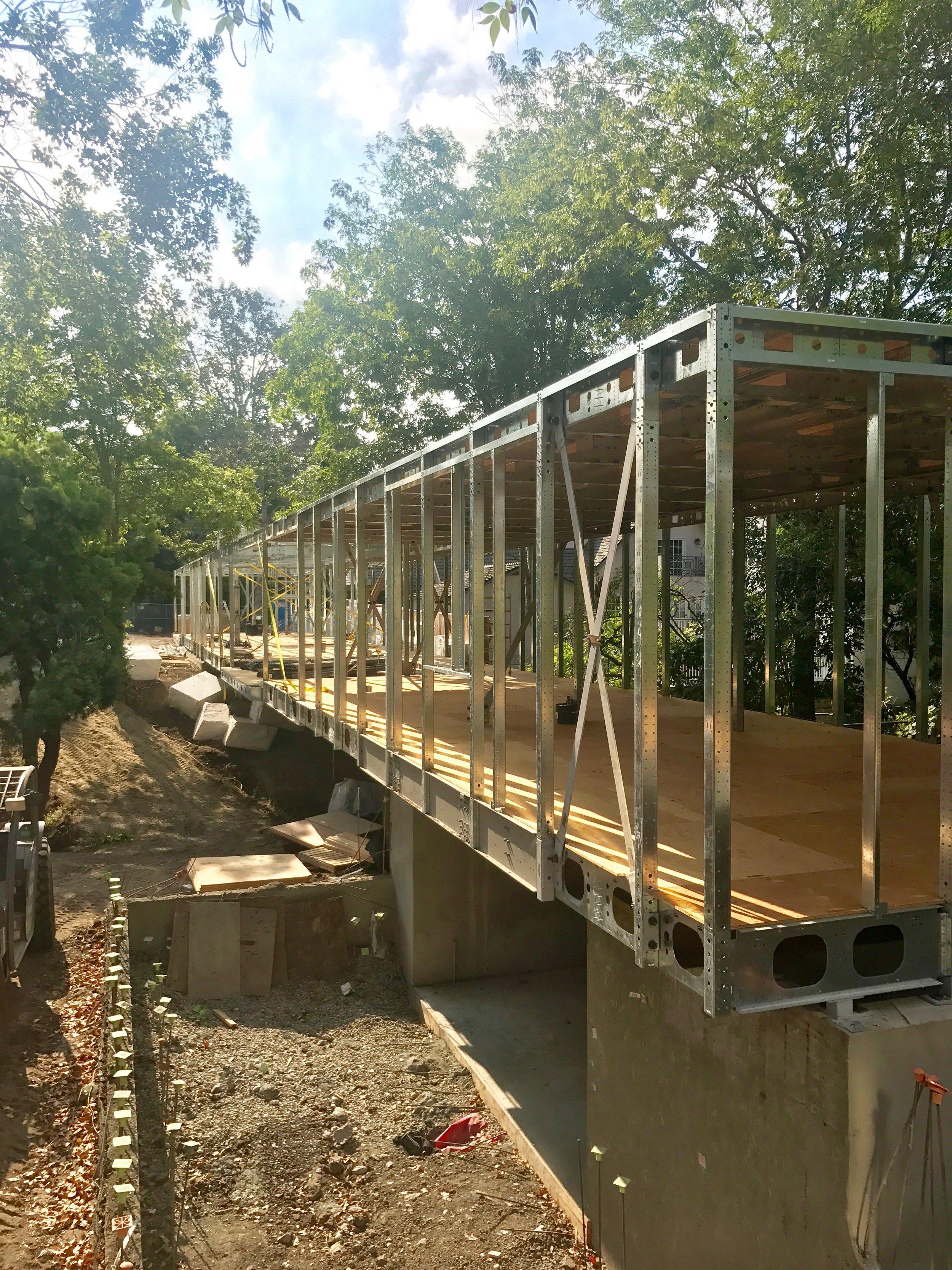 Bridge House construction, framing is up!