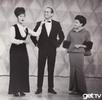 (Judy Garland beams as guest Louis Nye enjoys Chita Rivera's performance on THE JUDY GARLAND SHOW, airing Monday, April 11.)