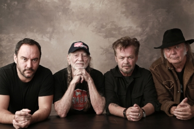 Caption - L-R Dave Matthews, Willie Nelson, John Mellencamp, Neil Young. Credit Marc Hauser