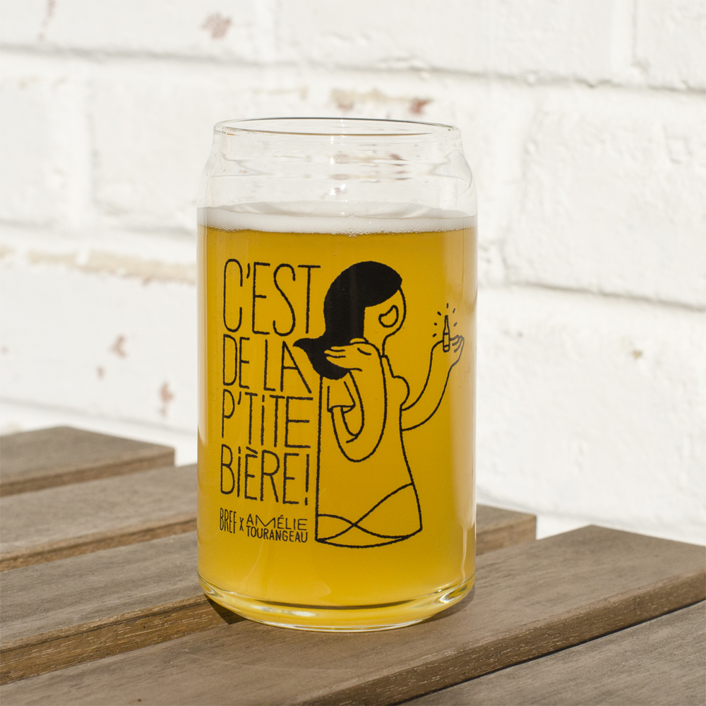 "Glass of beer - an illustrated woman saying ""that's quite easy"""